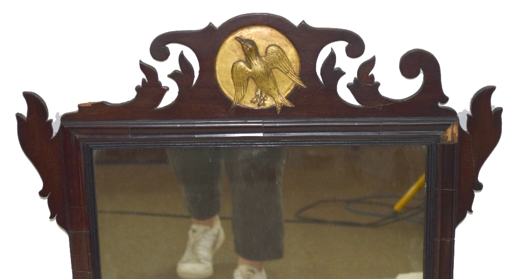 19th century wall mirror in mahogany fret work frame with central gilded roundel detail with bird, - Image 2 of 3