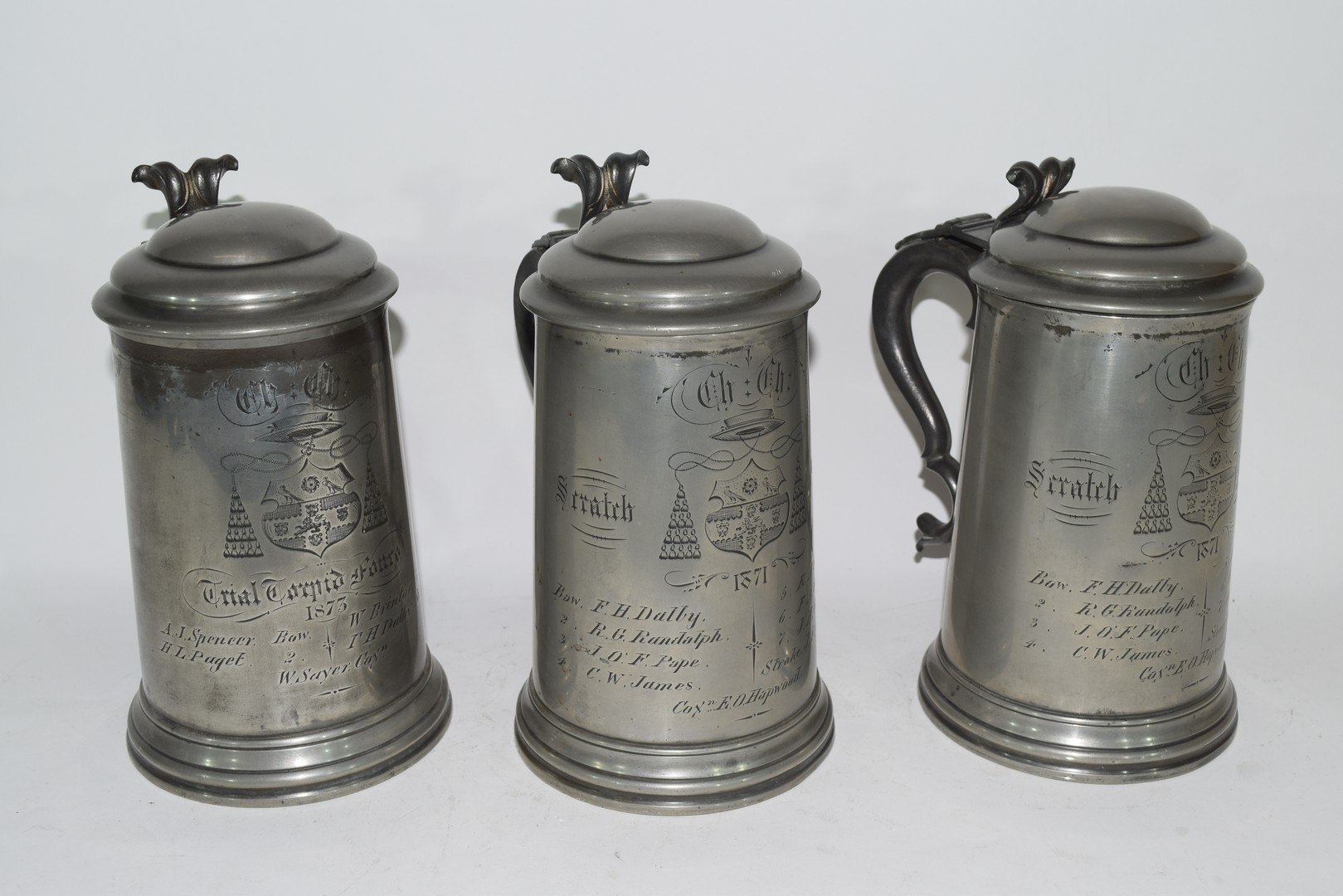 Three pewter tankards from Christchurch College, Oxford - Image 2 of 4