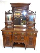 Late Victorian American walnut sideboard with triple mirrored back and base with three drawers and