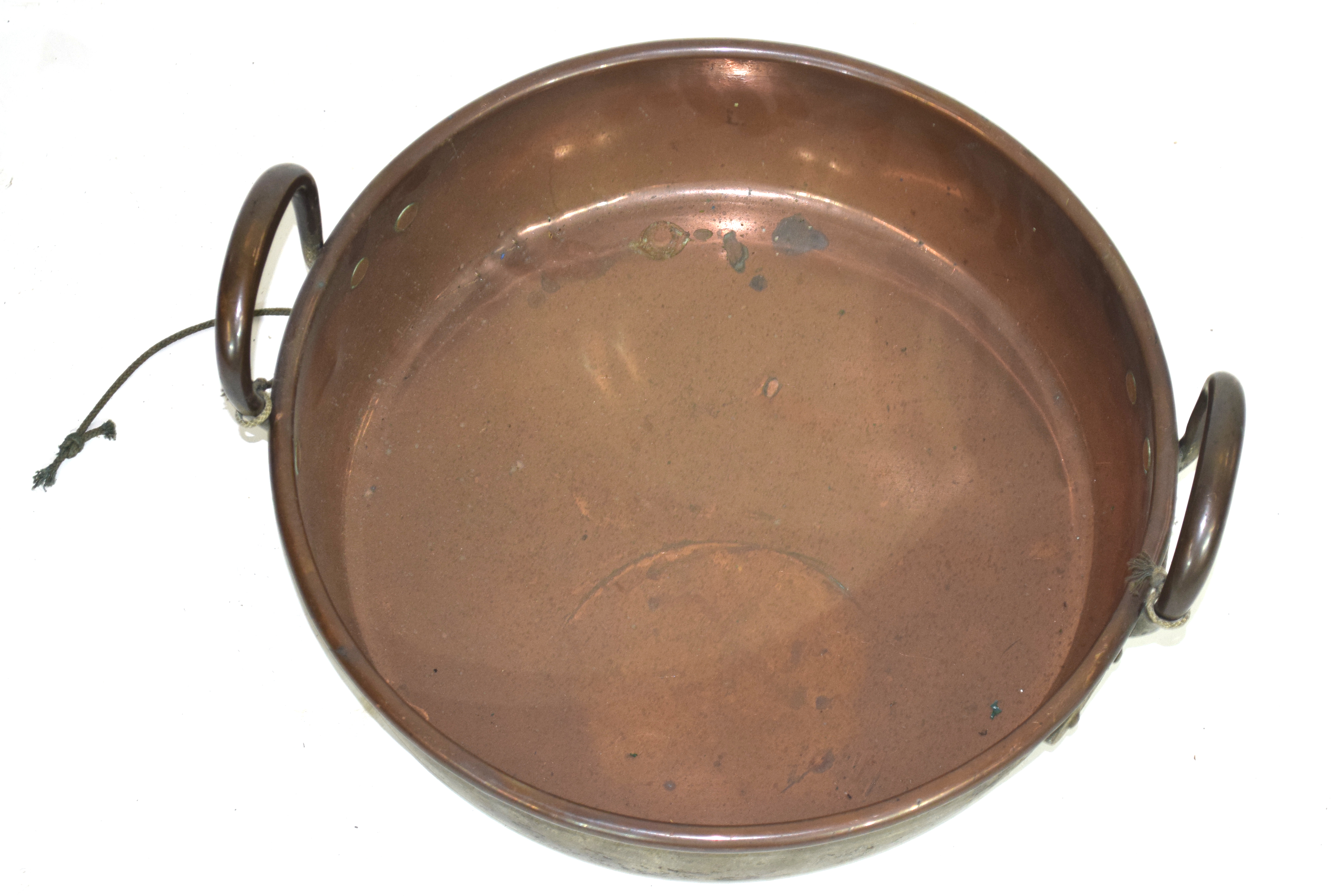 Large copper twin handled cooking pan, diam approx 36cm Condition: - Image 2 of 2