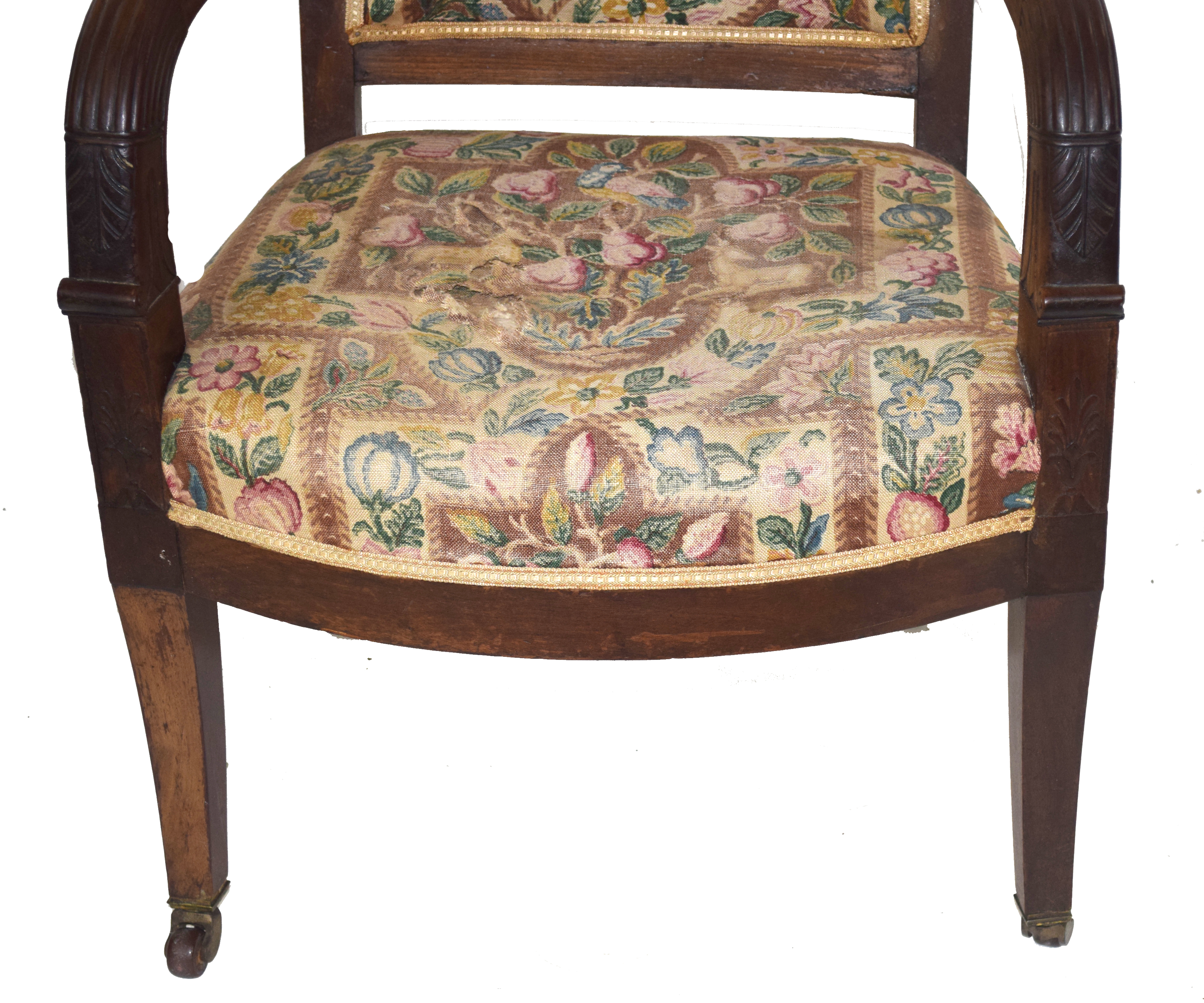 19th century mahogany framed armchair with tapering legs raised on casters, 92cm high Condition: - Image 4 of 4