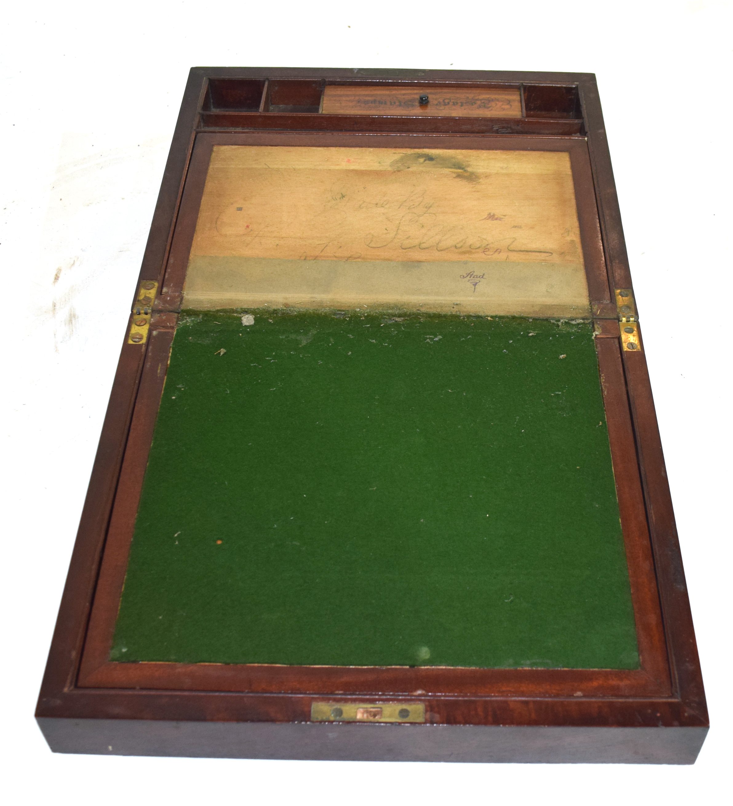 Large 19th century mahogany writing box with fitted interior, 38cm wide Condition: very worn - Image 3 of 3