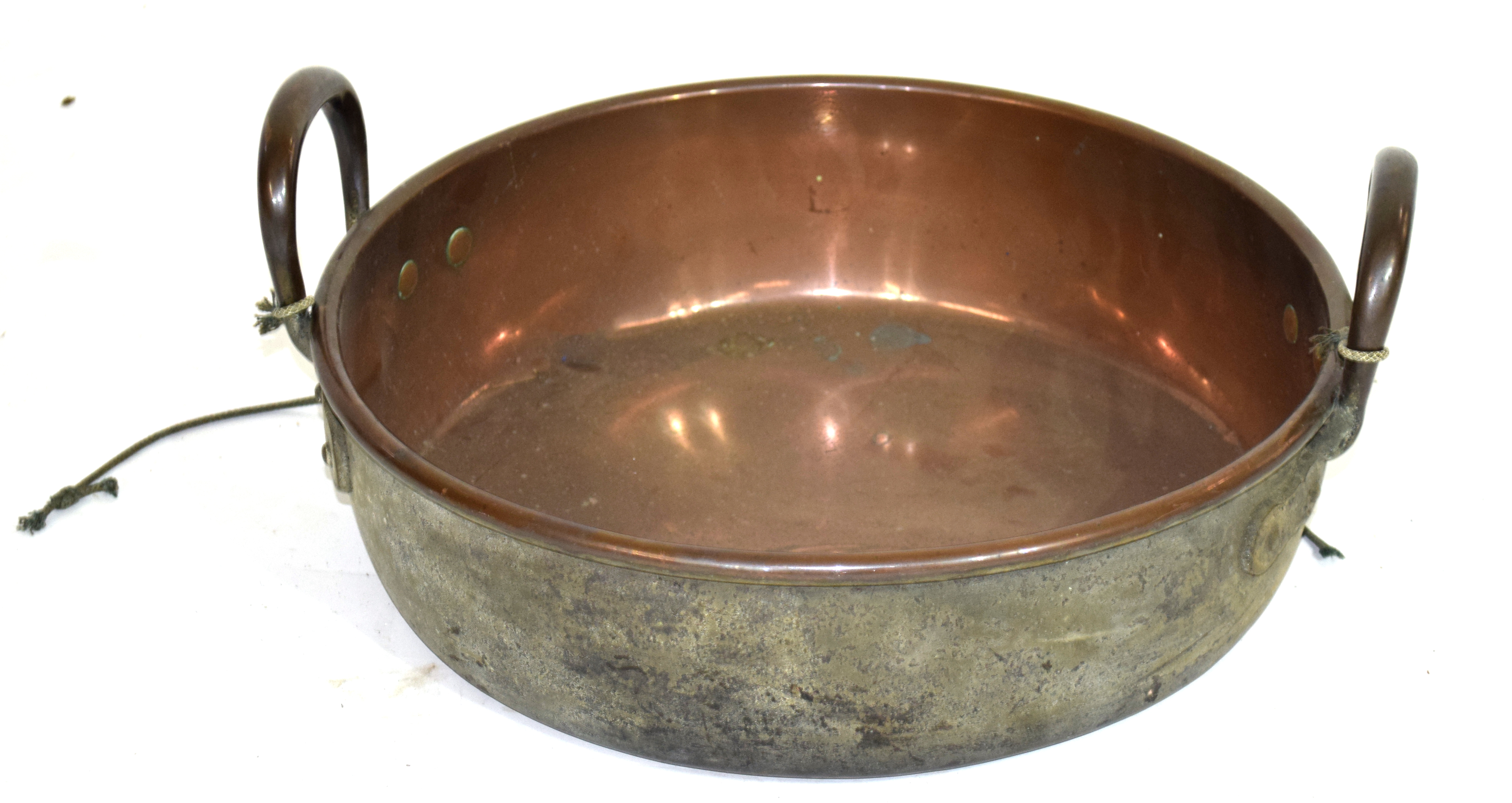 Large copper twin handled cooking pan, diam approx 36cm Condition: