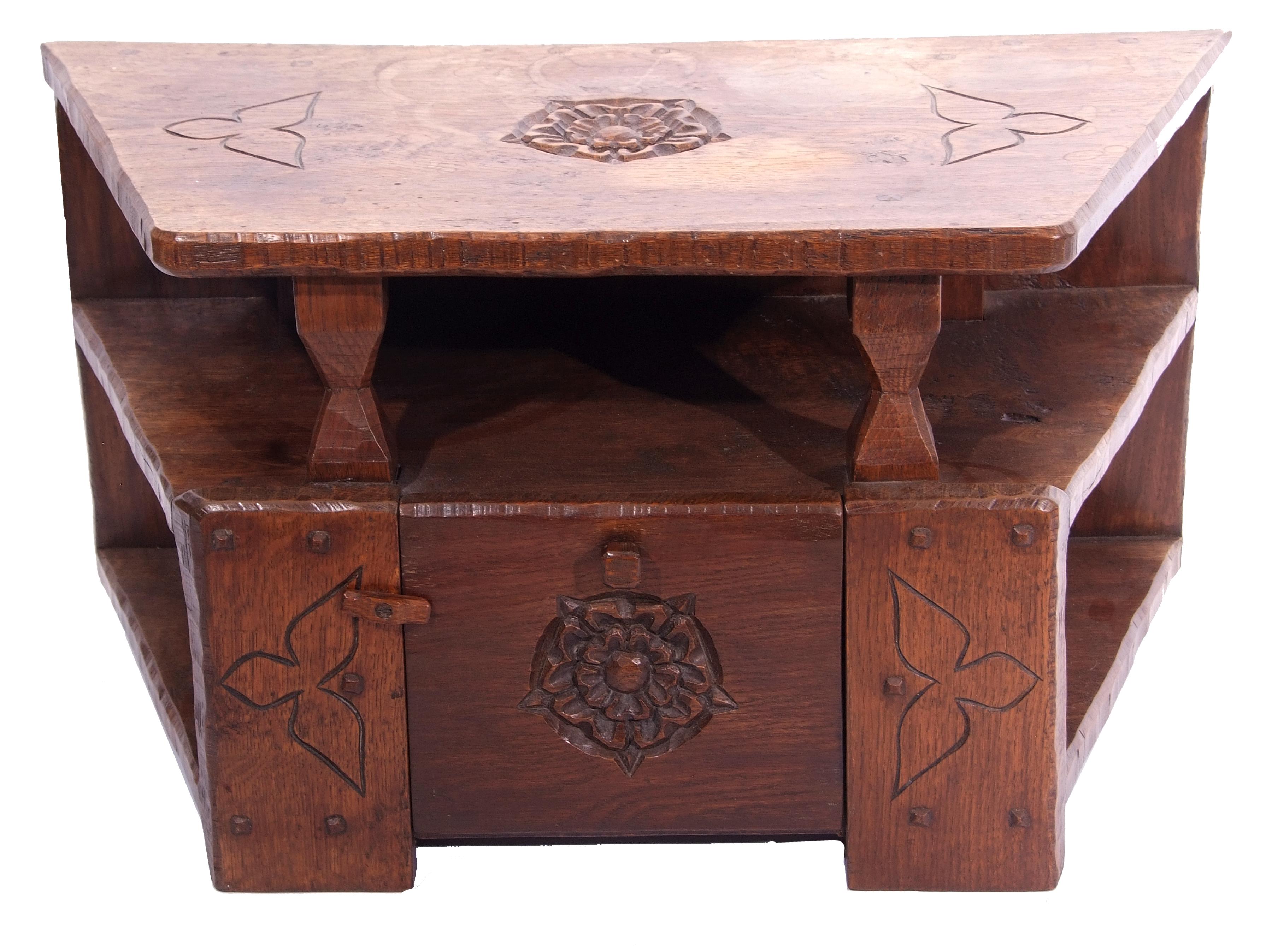 Jack Grimble of Cromer, a small oak losenge shaped side table with carved Tudor Rose detail 76cm