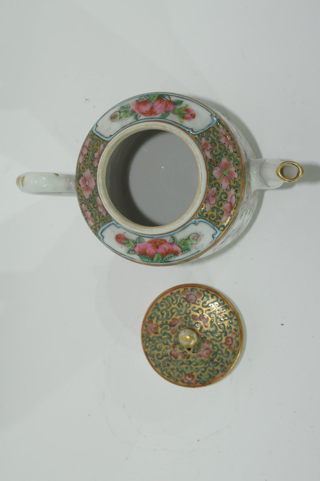 Small Cantonese porcelain tea pot - Image 6 of 7