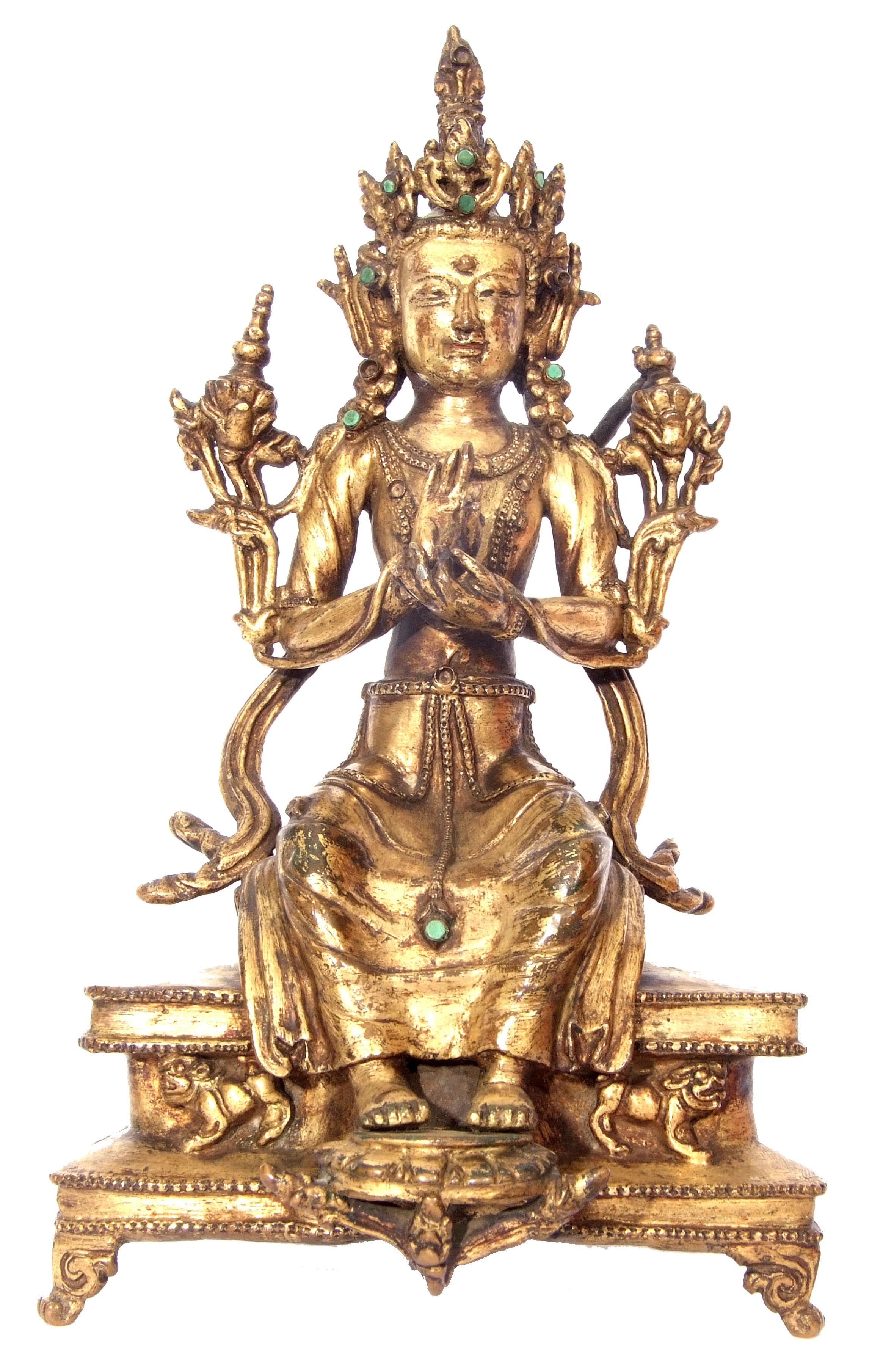 Rare Sino-Tibetan gilt bronze figure of Maitreya