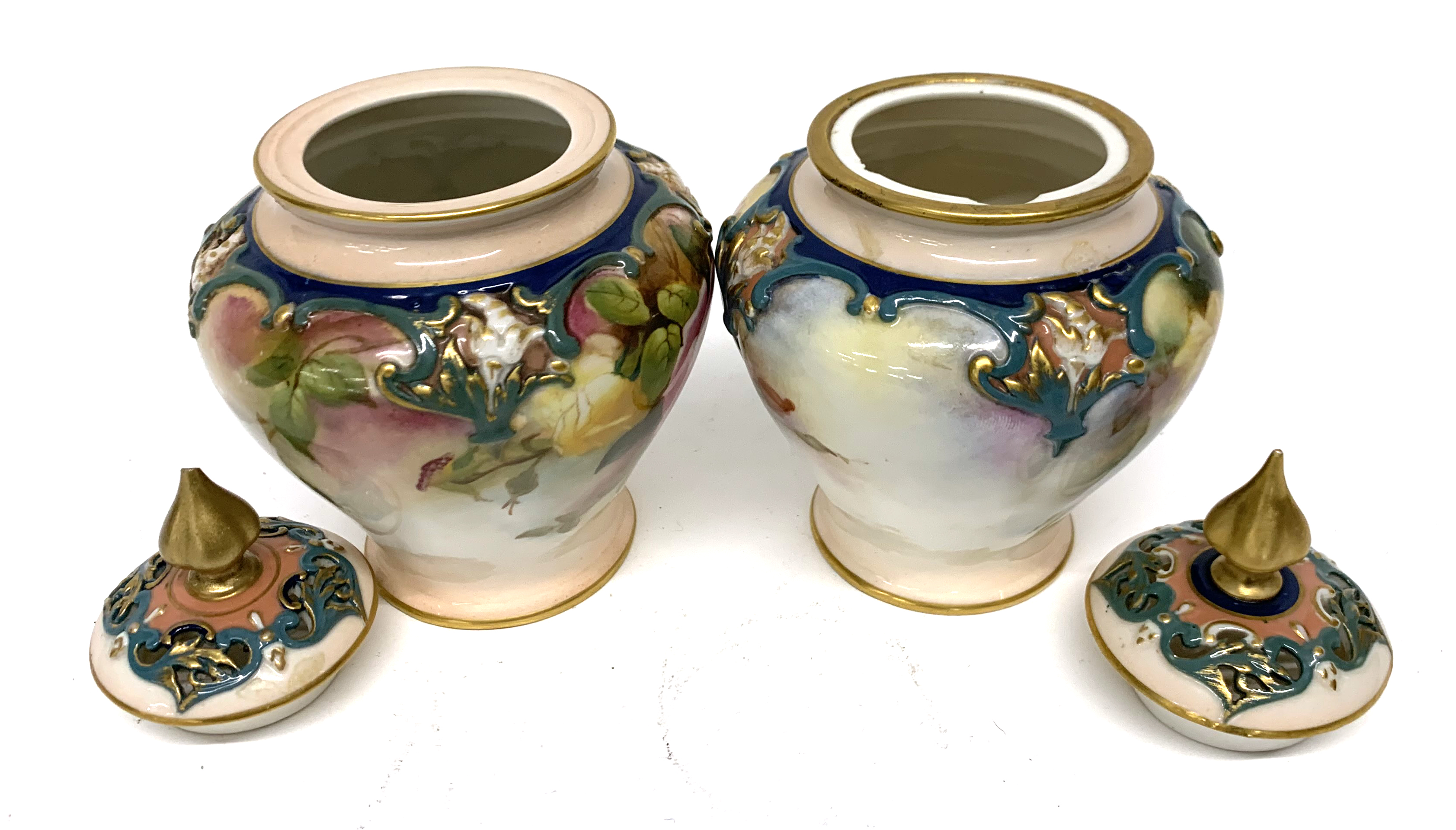 Pair of late 19th century Hadleigh Worcester vases a - Image 6 of 8