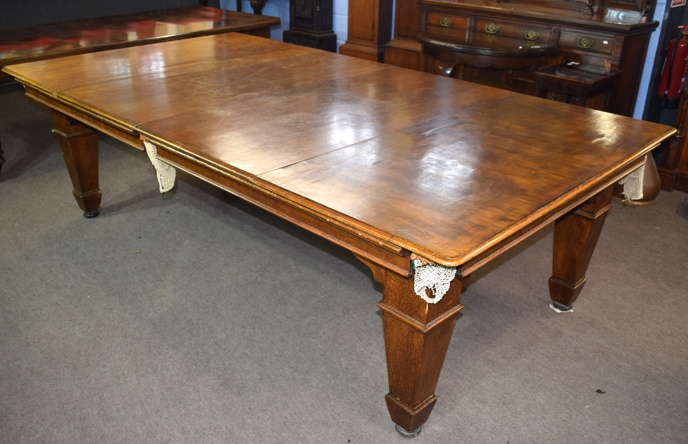 Oak frame and slate bed, quarter size snooker table with leaves adapting it to a dining table - Image 3 of 6