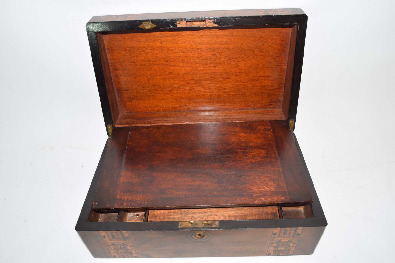 Late 19th century walnut and marquetry inlaid writing box - Image 5 of 6