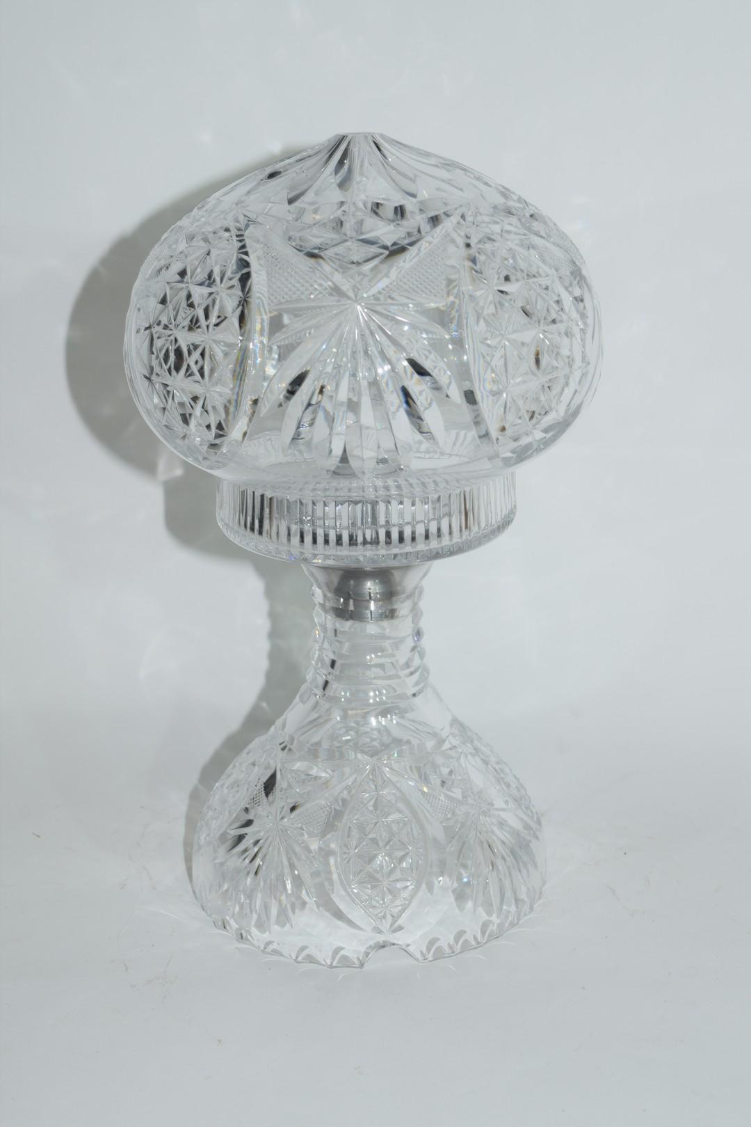 Cut glass lamp and shade