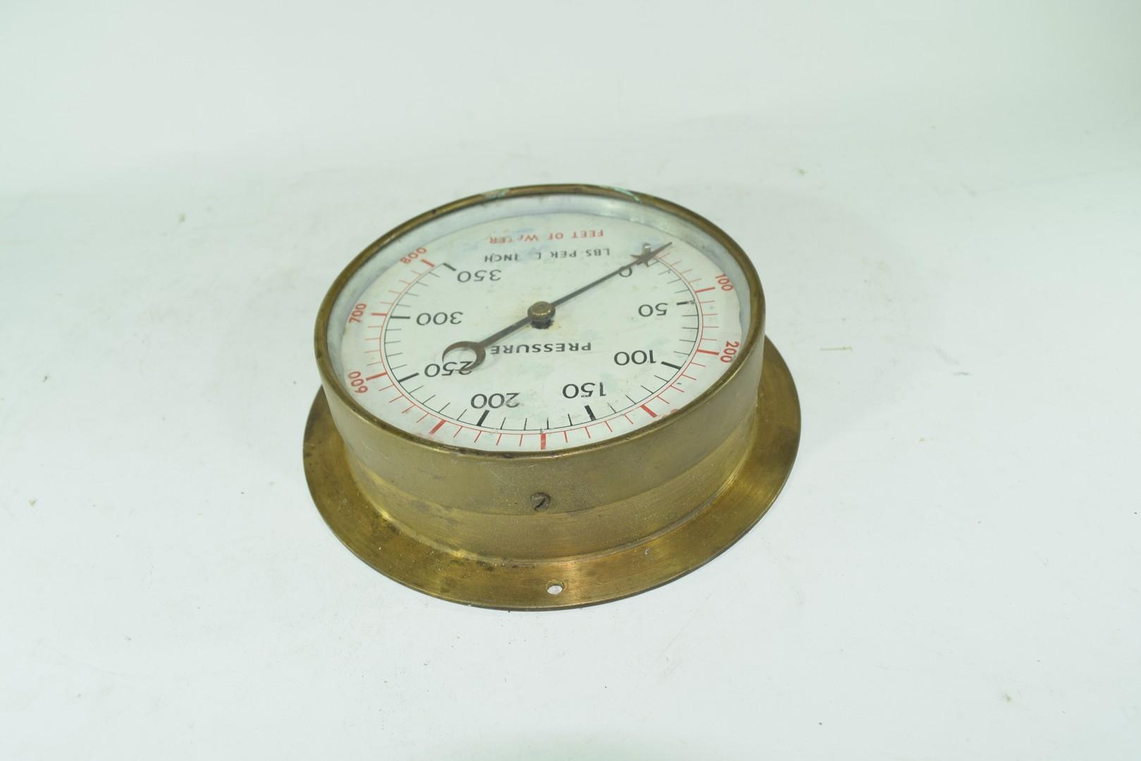 Vintage brass cased pressure gauge - Image 3 of 4