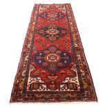 Rich red ground full pile Persian Hamadan Runner 286cm x 110cm approximately