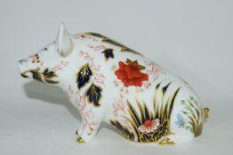 Large Royal Crown Derby pig money box