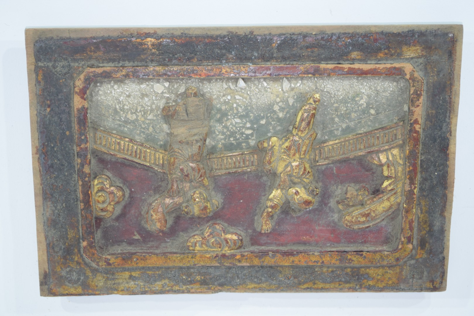 Group of seven Oriental wooden panels - Image 12 of 16
