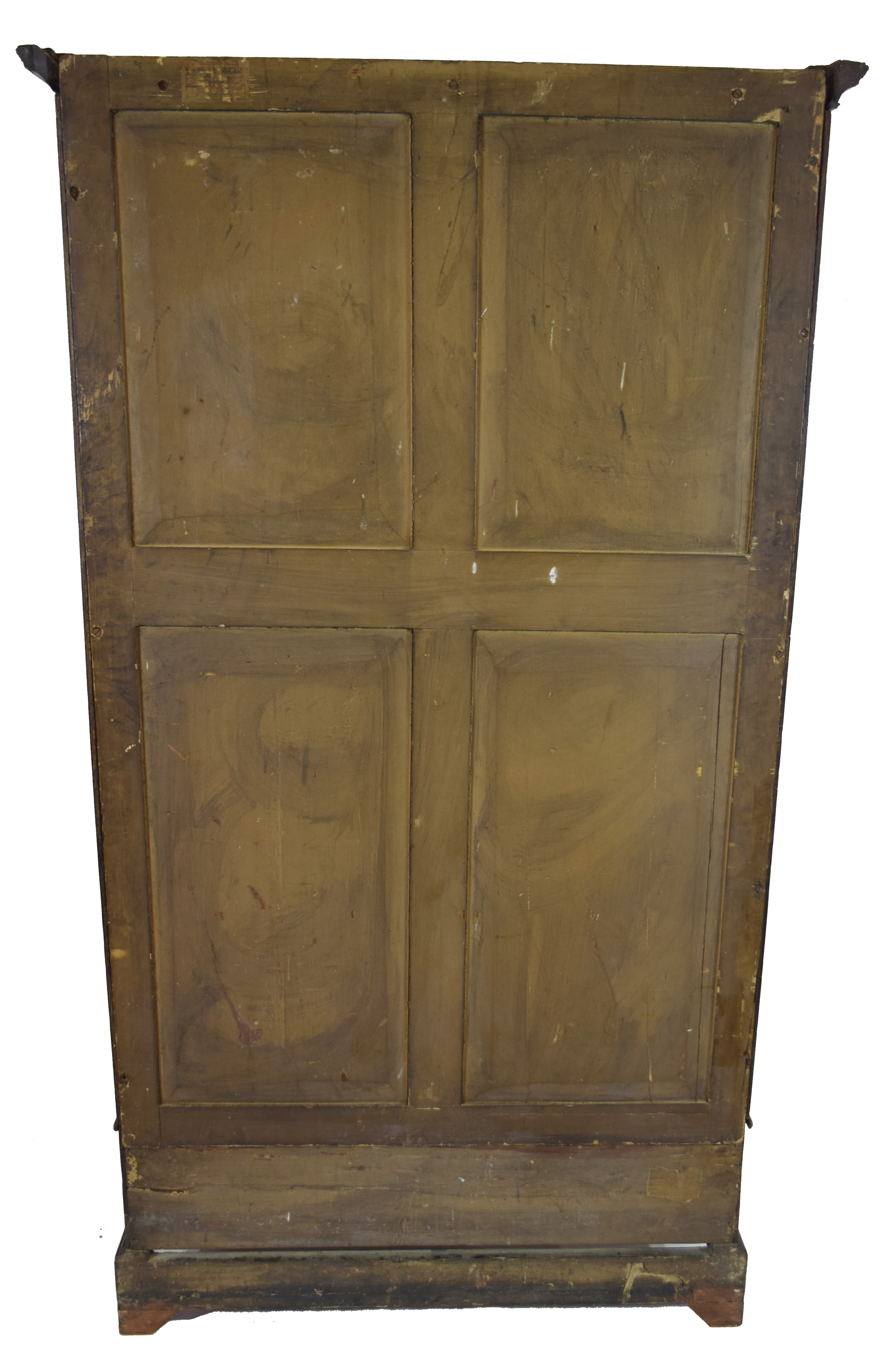 19th century mahogany wardrobe with moulded cornice over two panelled doors and single drawer - Image 6 of 6