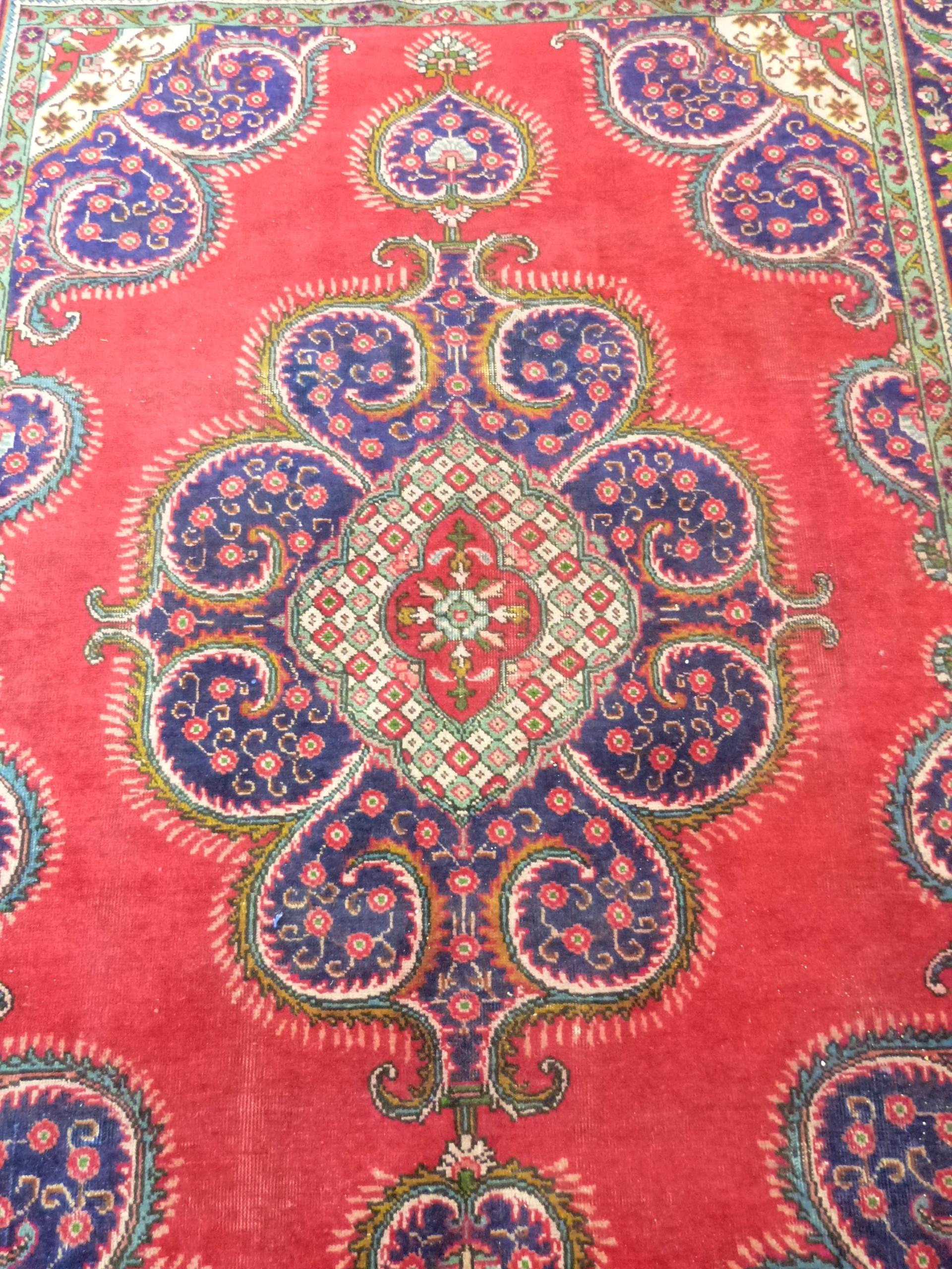 Deep ground thick pile Persian Narouan Carpet,decorated with various motifs & symbols 276cm x - Image 4 of 9