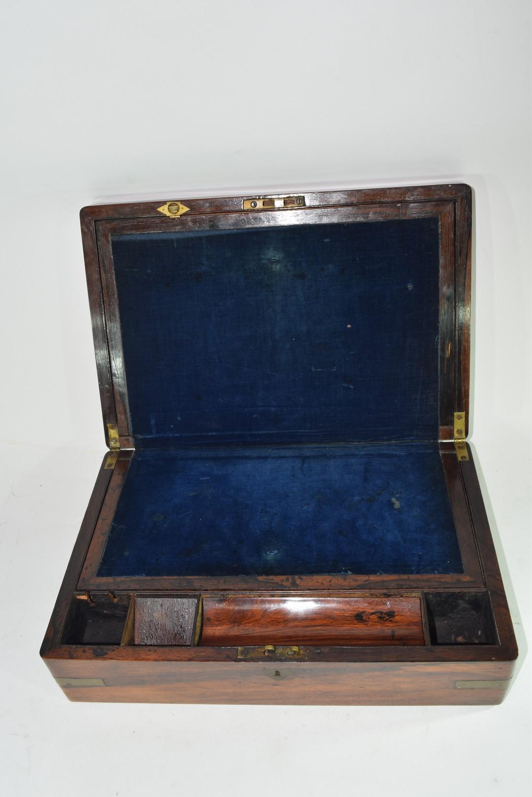 Late 19th century hardwood writing box - Image 4 of 6