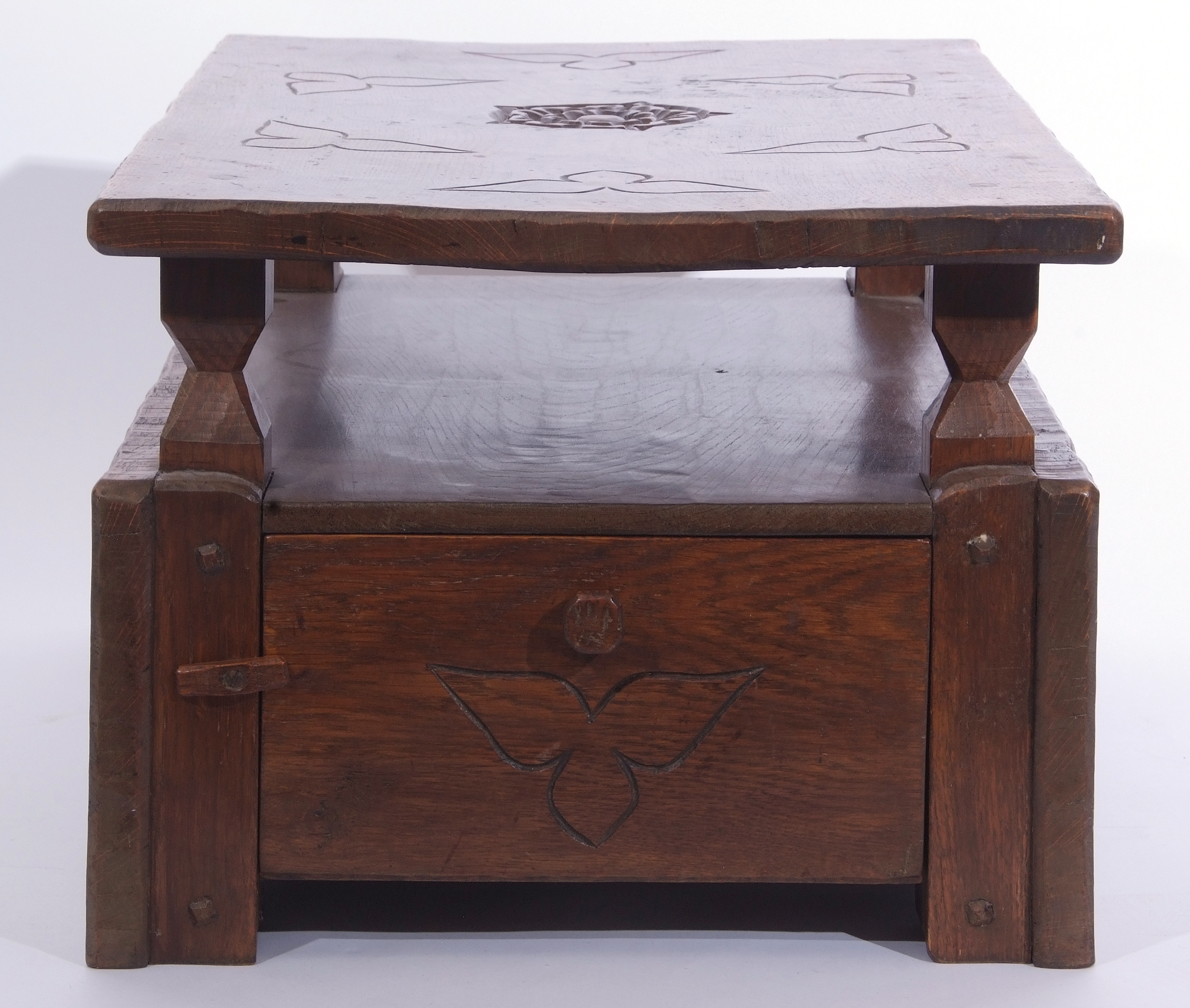 Jack Grimble of Cromer Oak coffee table with drop down storage end, carved with Tudor Rose detail - Image 5 of 9