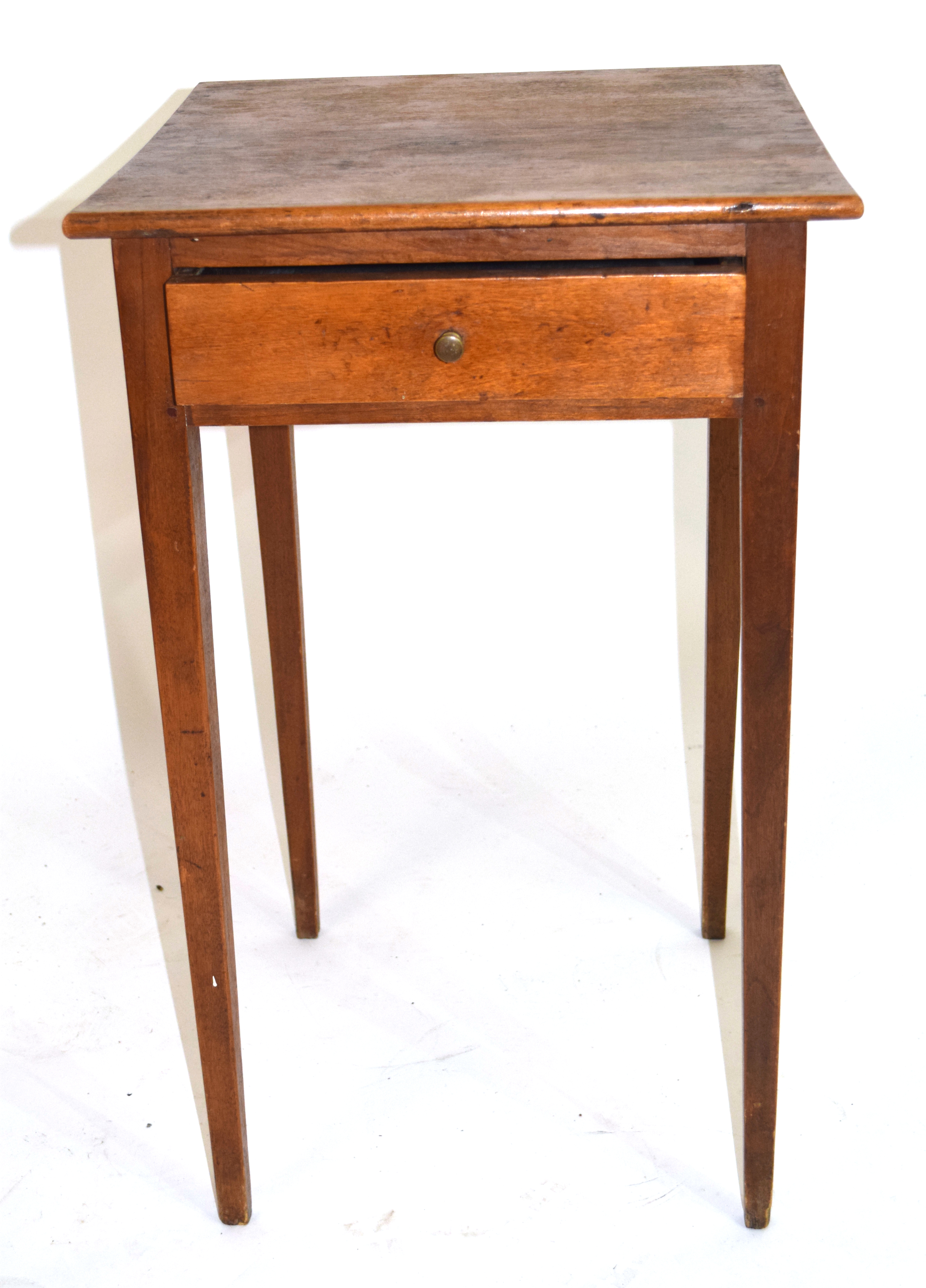 Small square stained table with drawer 70cm in height Condition: Structurally sound but requires