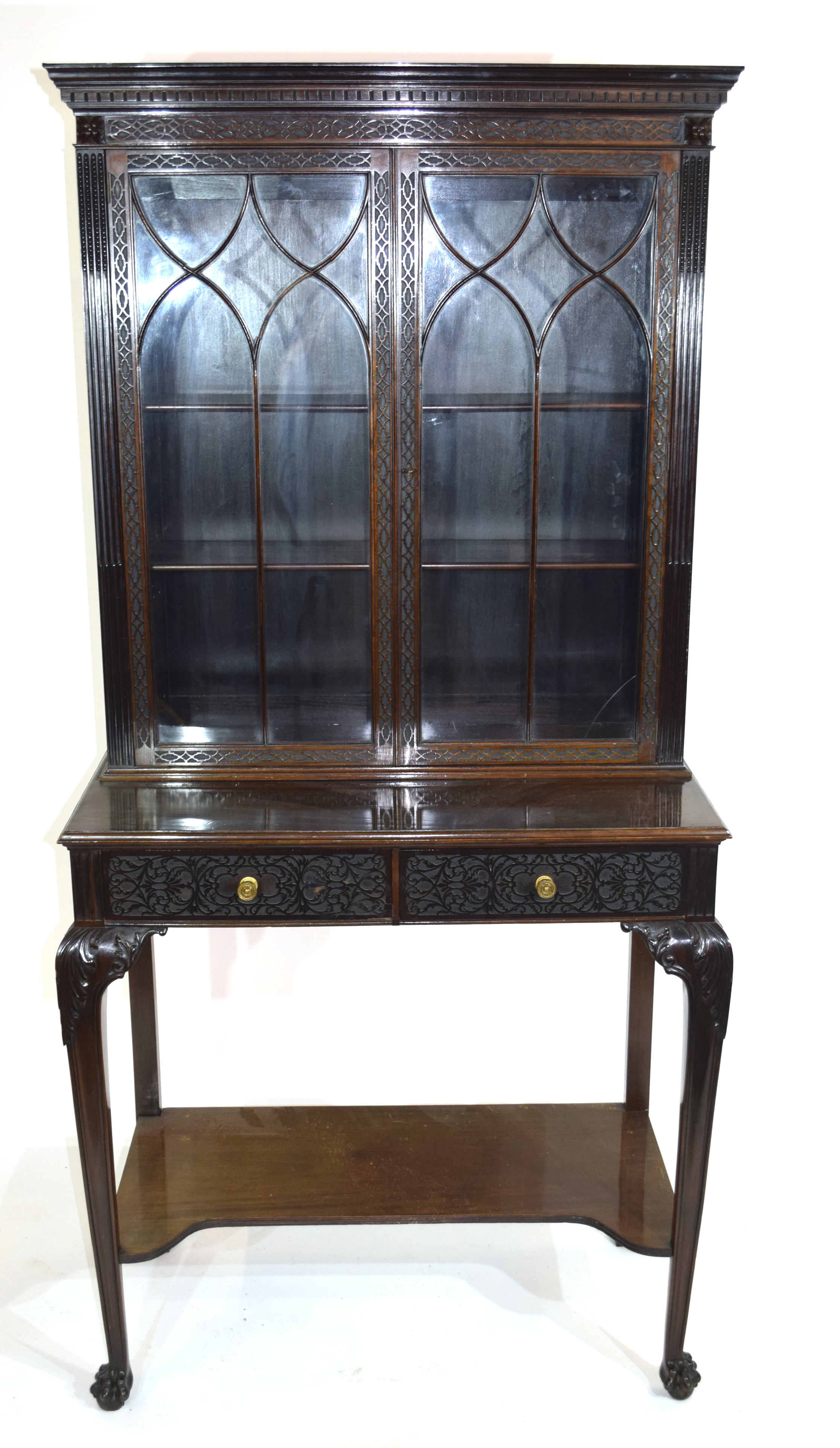 Edwardian mahogany side cabinet with shaped cornice over a top section with two glazed doors and - Image 2 of 7