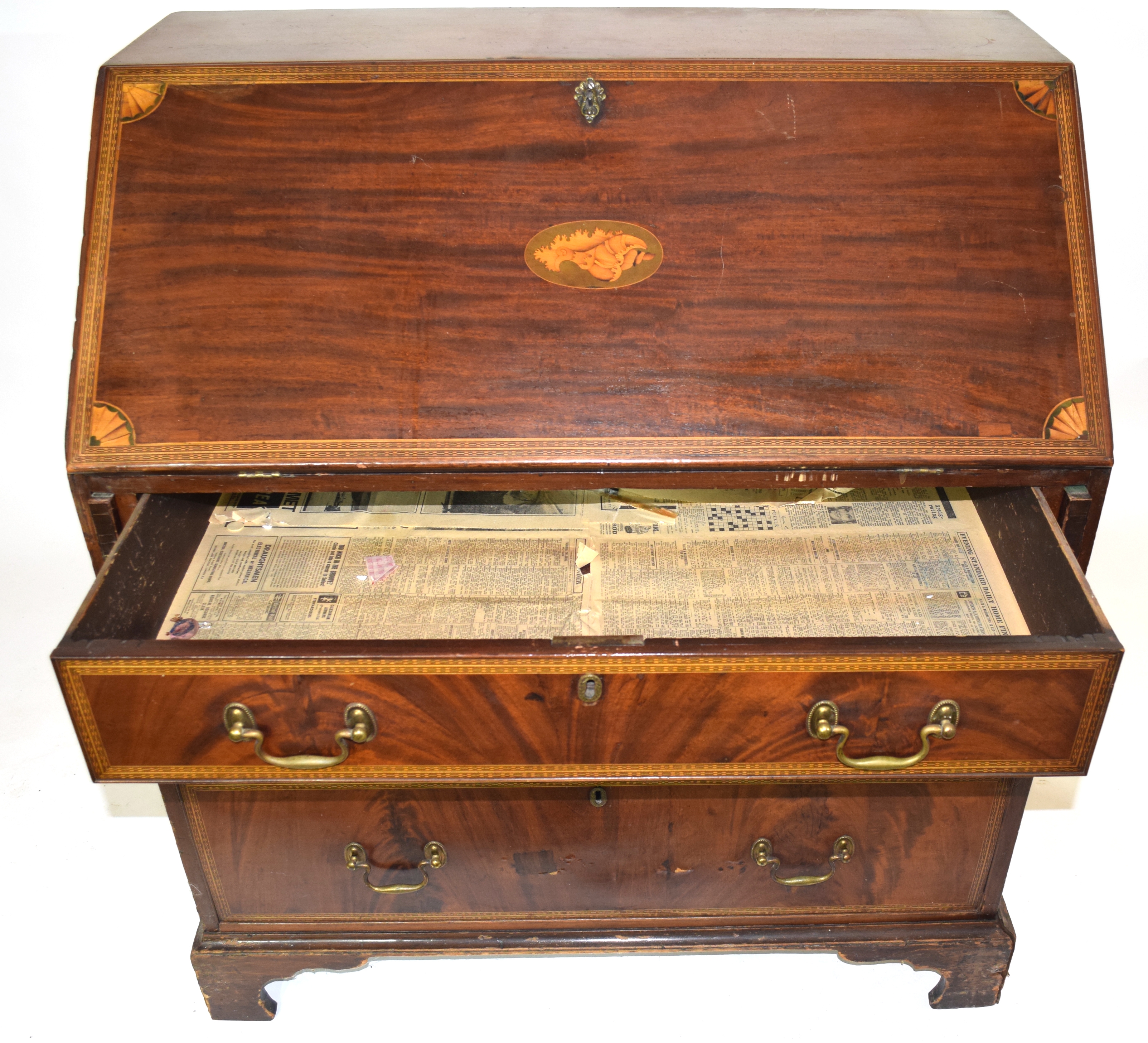 19th century fall front bureau with inlaid decoration throughout, raised on bracket feet with fitted - Image 3 of 5
