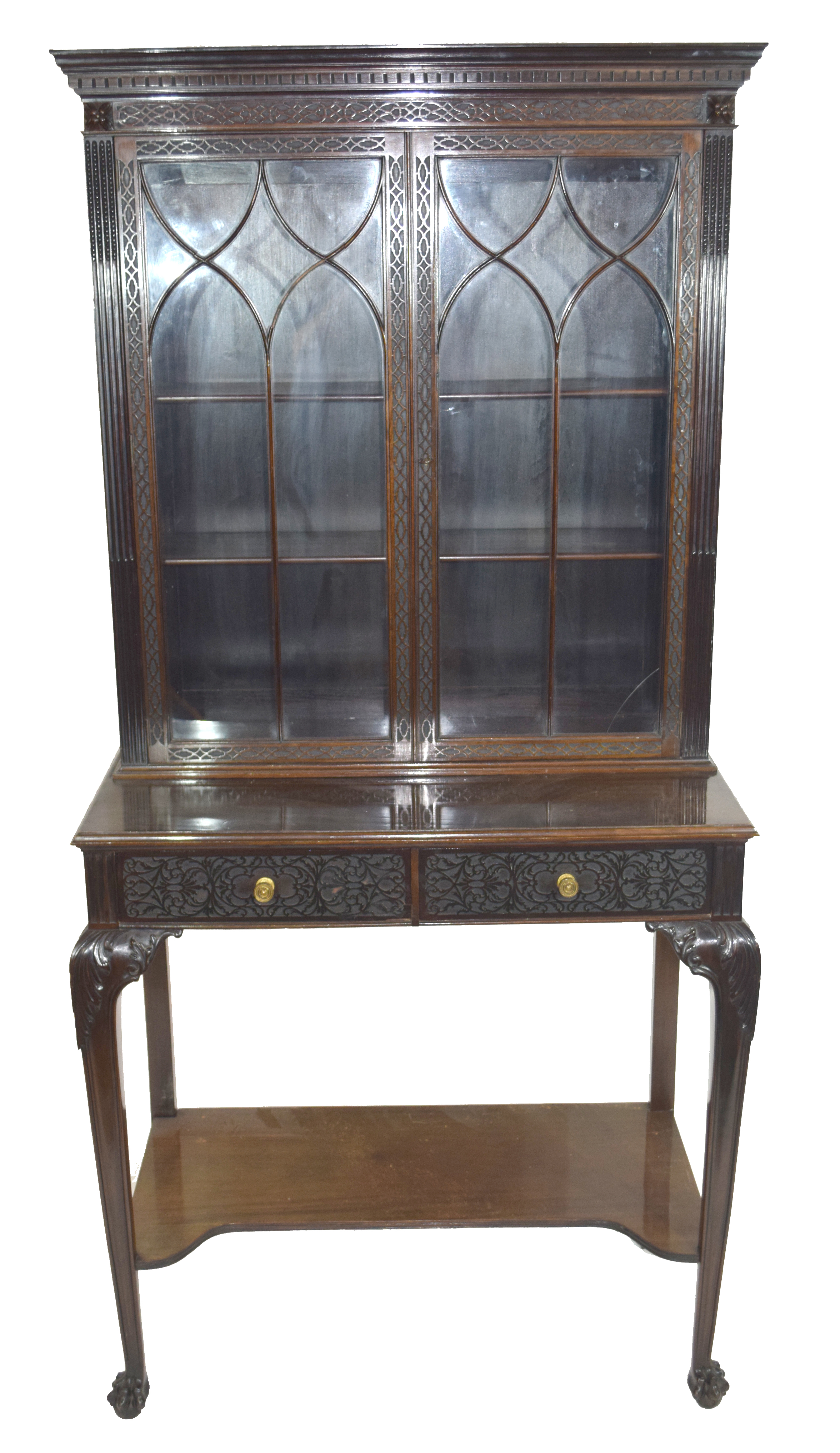 Edwardian mahogany side cabinet with shaped cornice over a top section with two glazed doors and
