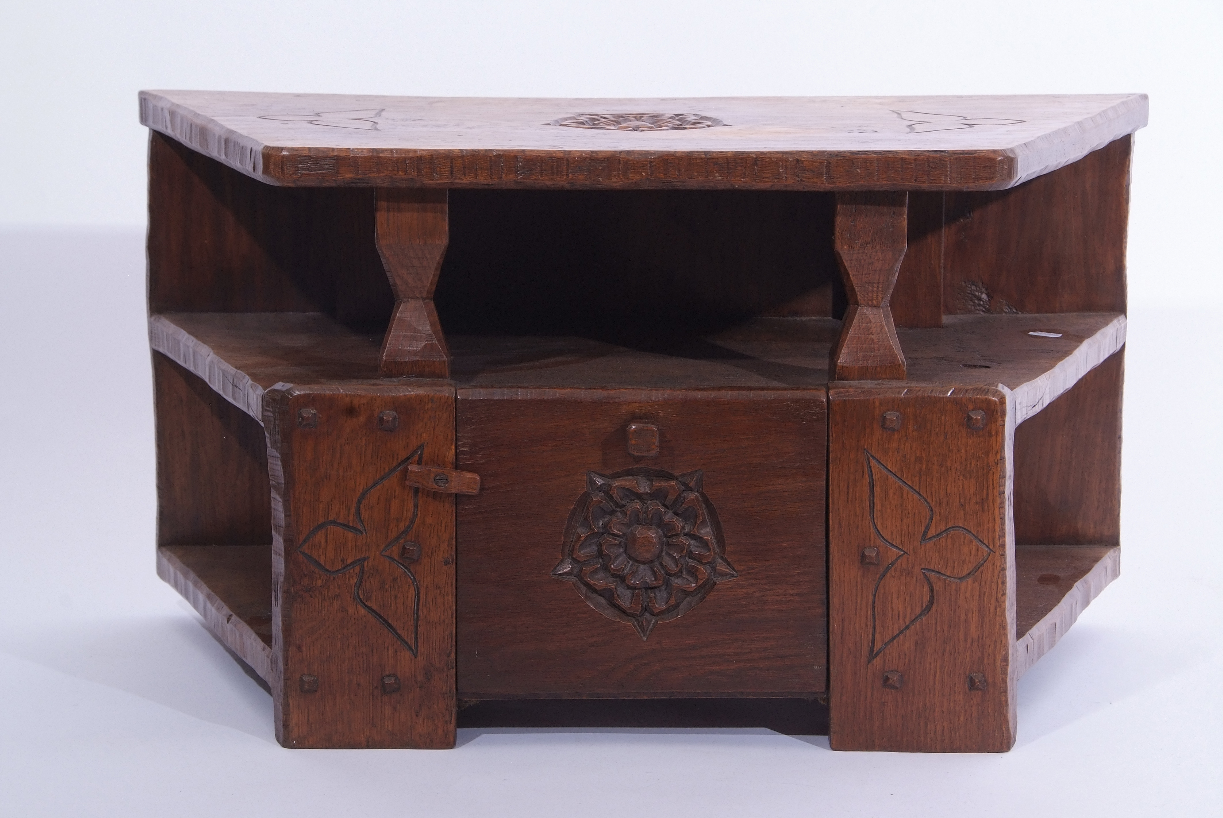 Jack Grimble of Cromer, a small oak losenge shaped side table with carved Tudor Rose detail 76cm - Image 4 of 10