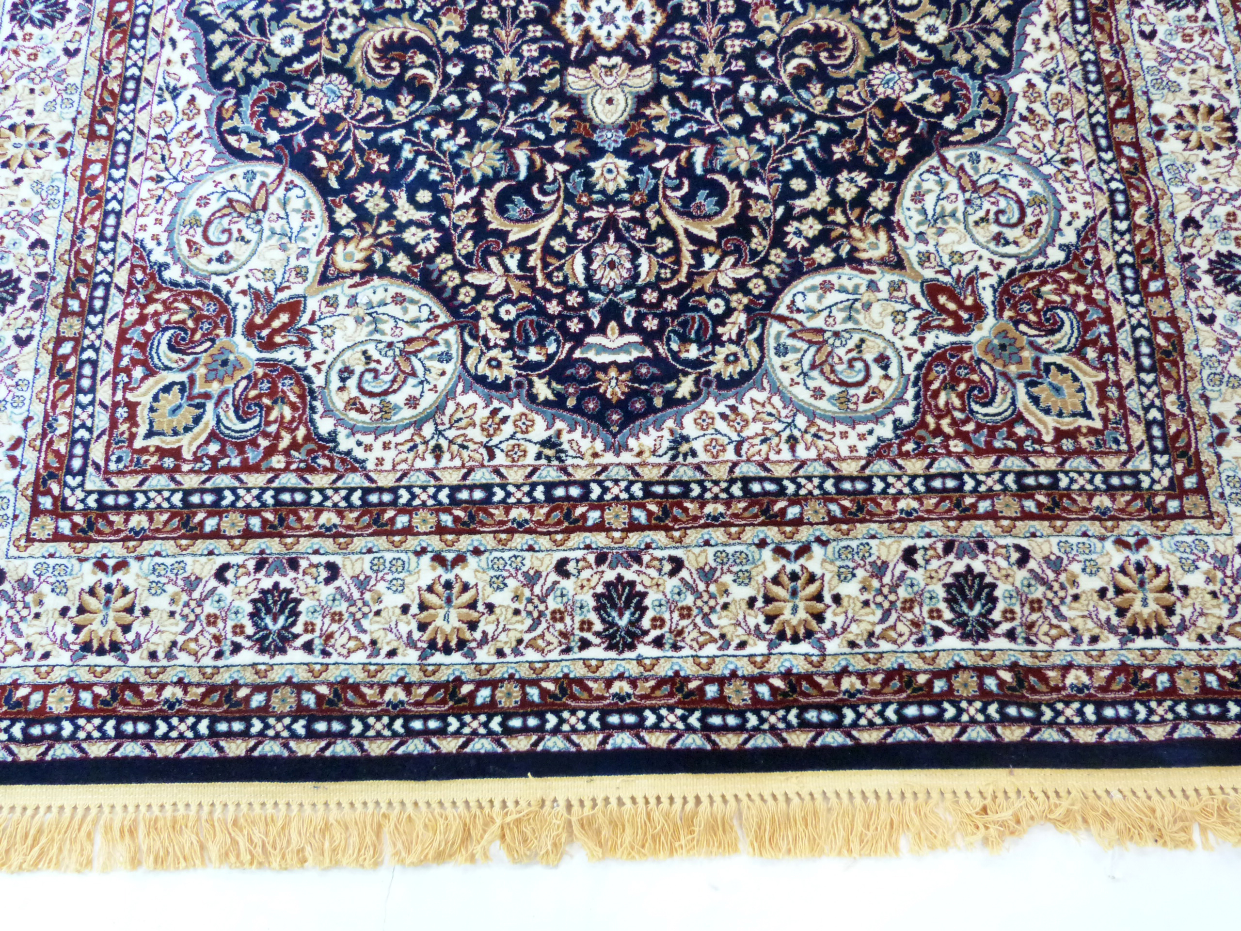 Rich blue ground full pile Turkish Carpet, with floral medallion design 320cm x 200cm approximately - Image 3 of 8