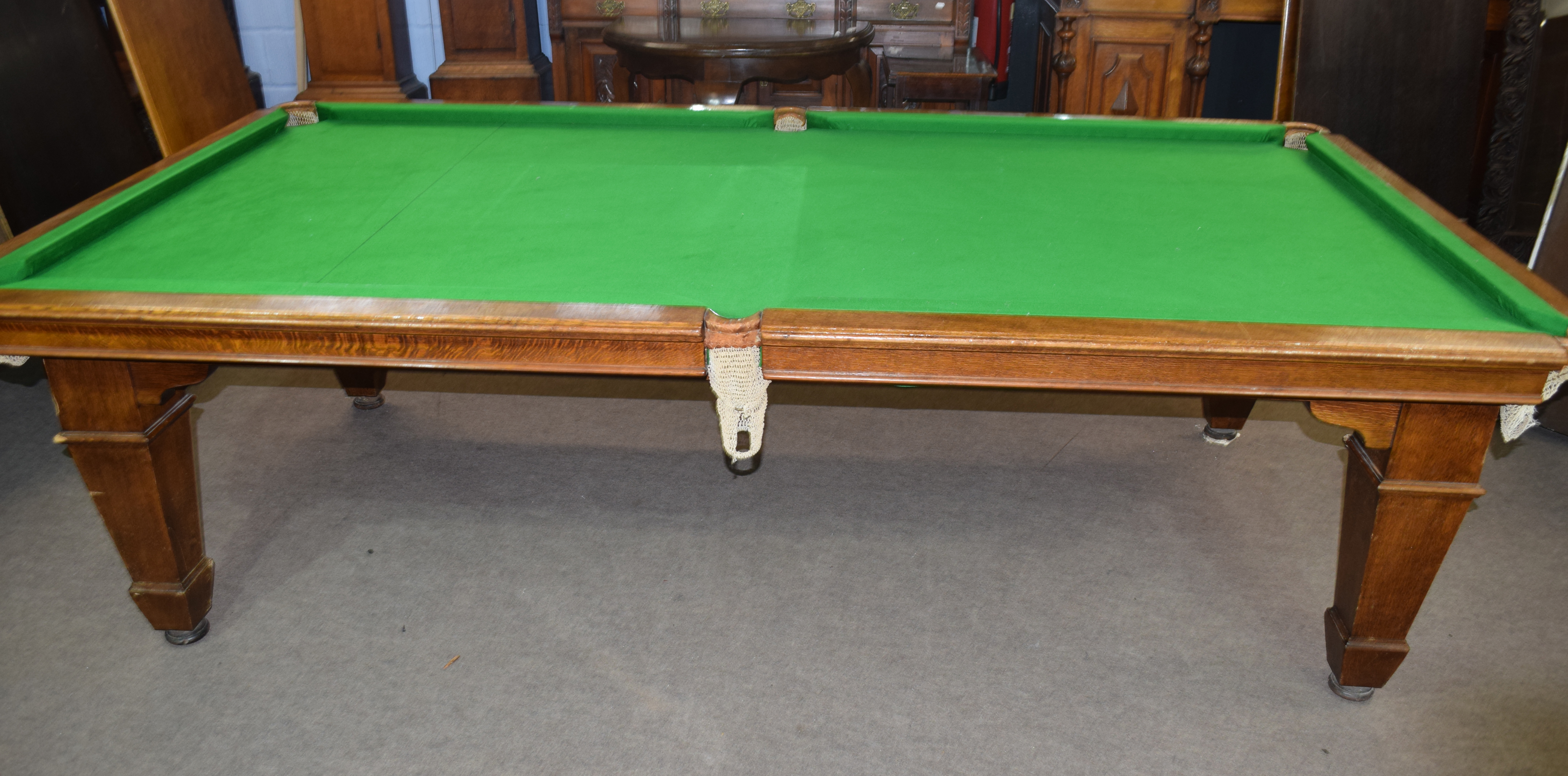 Oak frame and slate bed, quarter size snooker table with leaves adapting it to a dining table