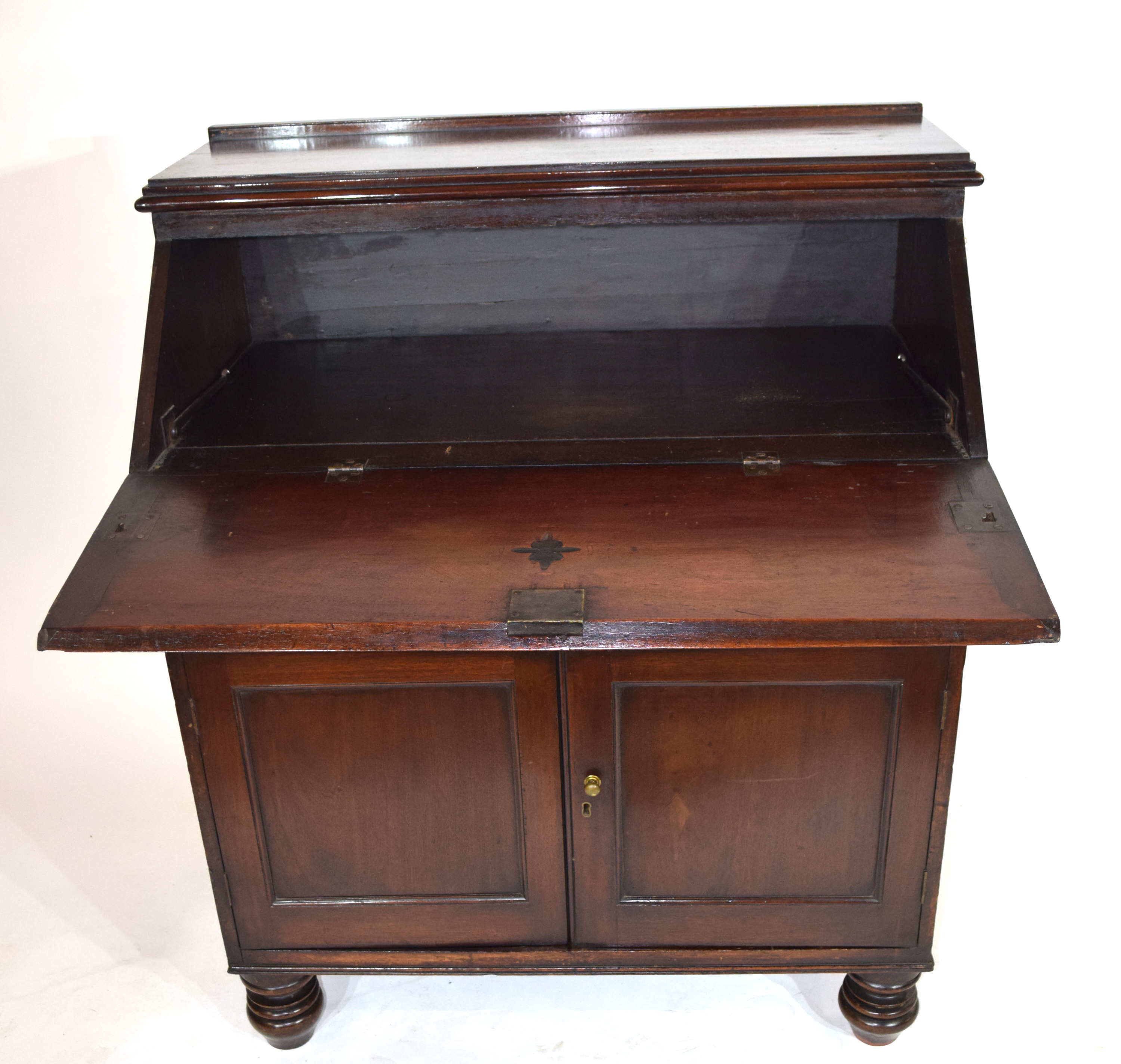 Late 19th/Early 20th century mahogany bureau with full front decorated with carved floral detail - Image 2 of 5