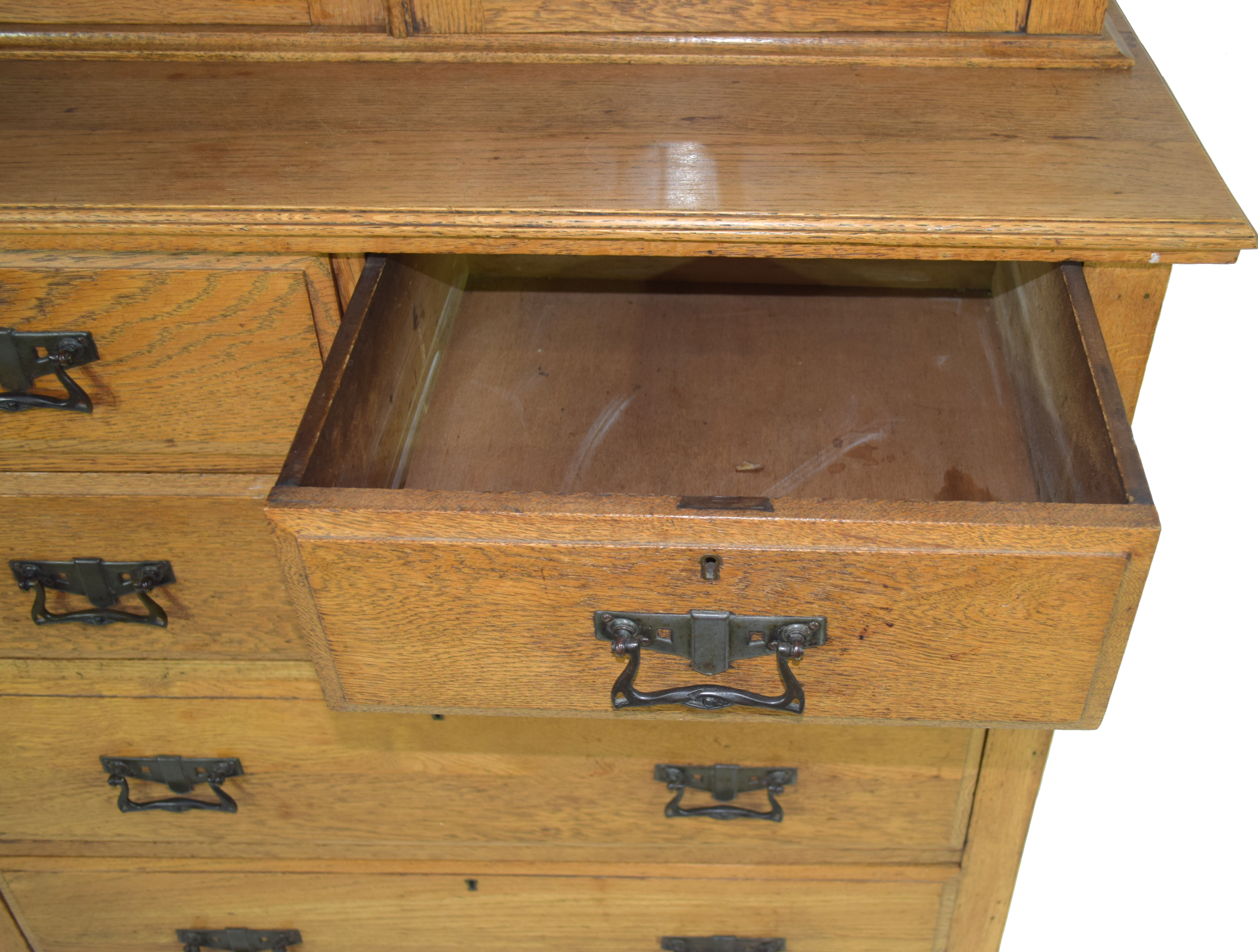 Late 19th century light oak two-piece cabinet, the top section with double glazed doors with Art - Image 4 of 7