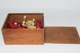 19th century ivory and red stained ivory part chess set