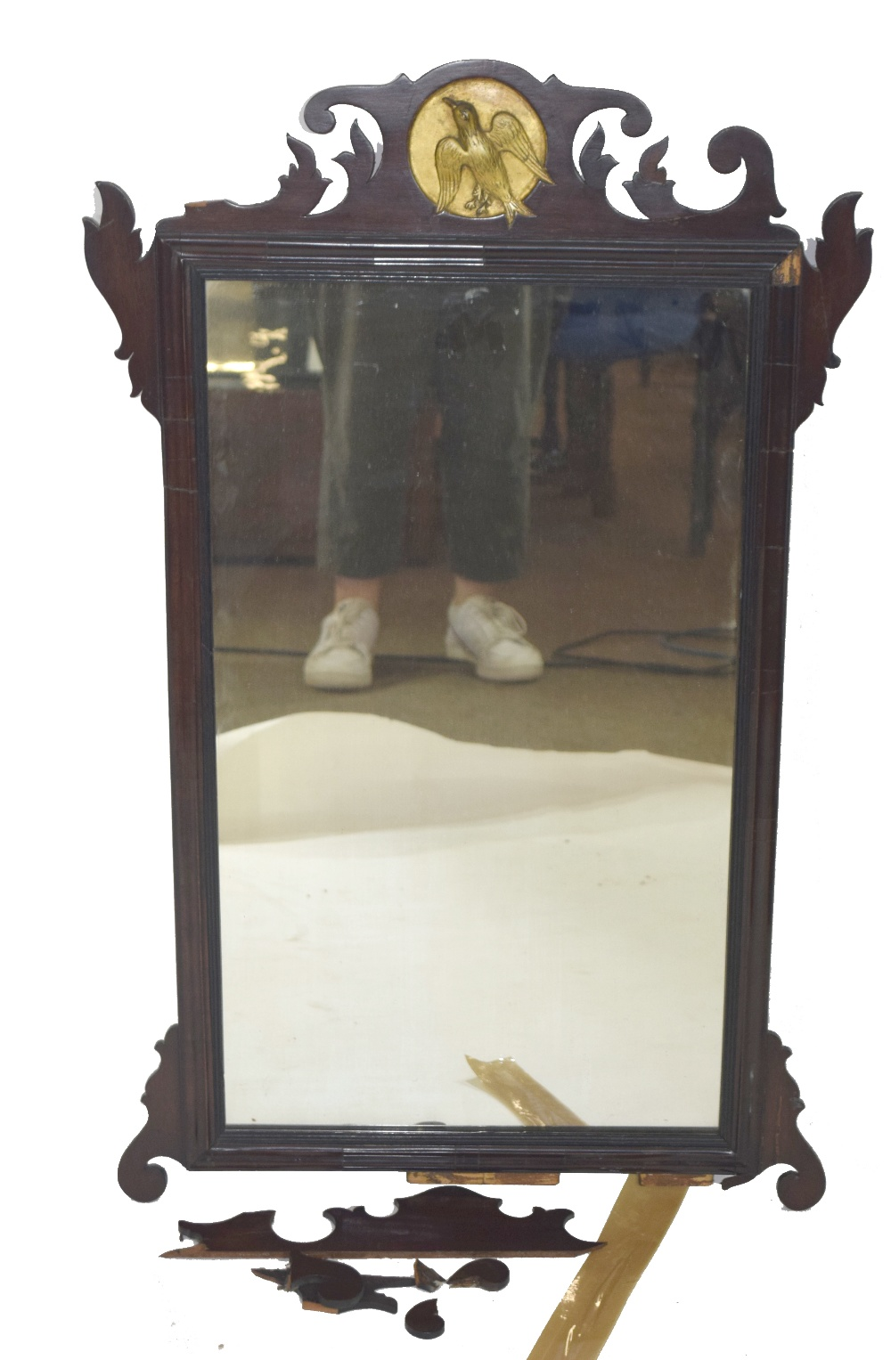 19th century wall mirror in mahogany fret work frame with central gilded roundel detail with bird, - Image 3 of 3