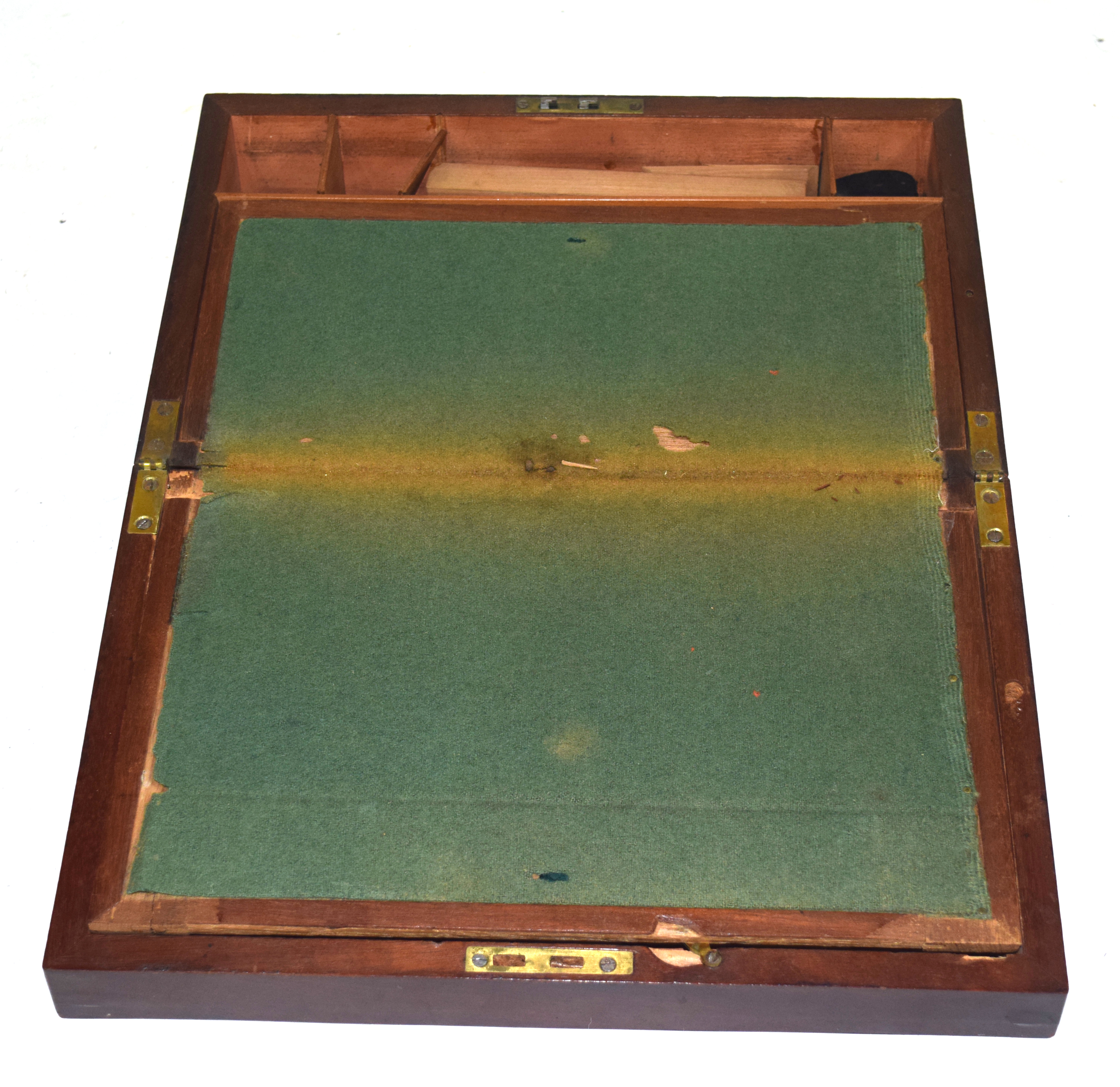 19th century mahogany writing box of typical rectangular form fitted with brass carry handles,