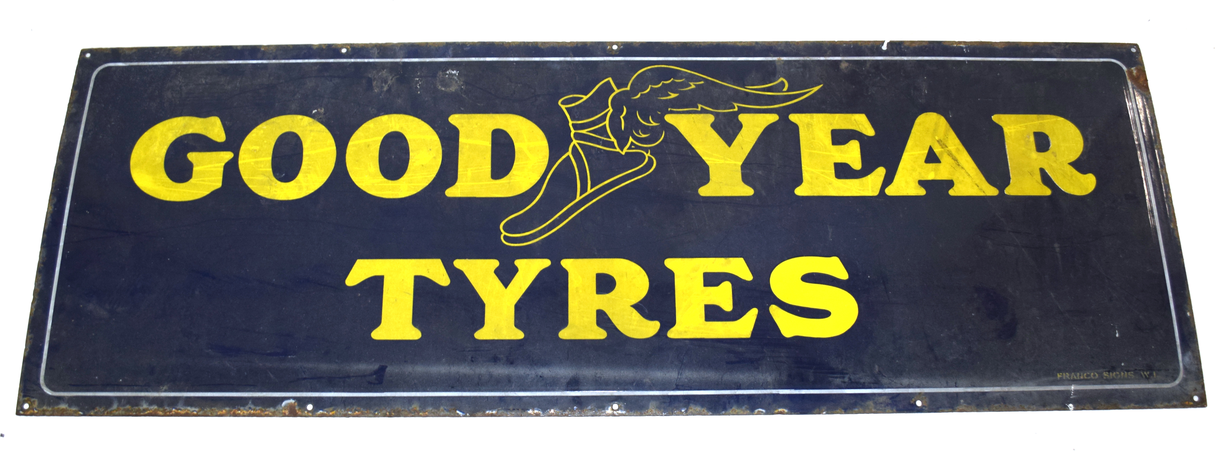 Vintage enamel advertising sign for Goodyear Tyres, yellow lettering on a blue background 153cm - Image 2 of 4