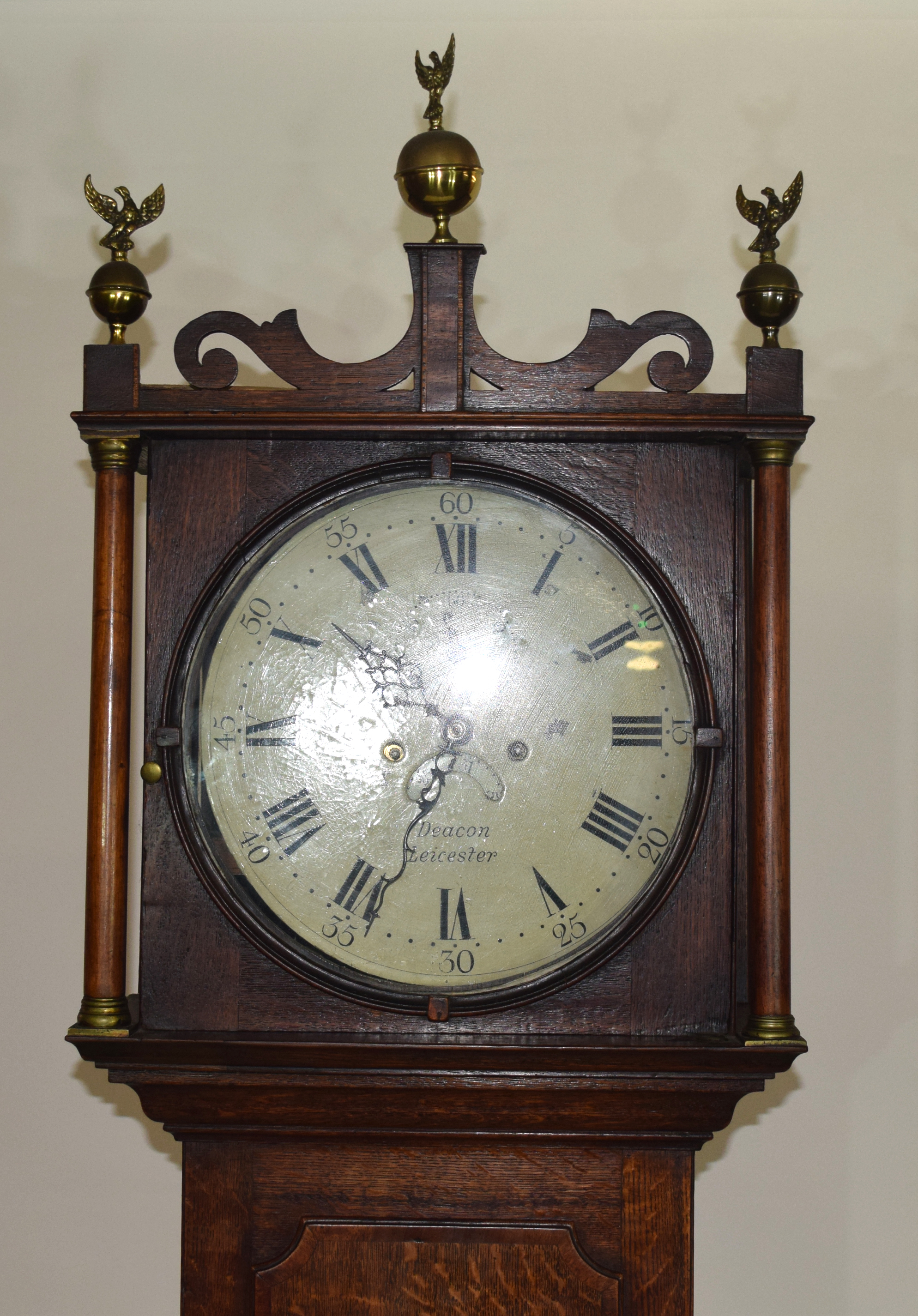 Deacon, Leicester, George III longcase clock with circular face with Roman and Arabic numerals and - Image 5 of 5