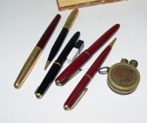 Small box containing quantity of fountain pens