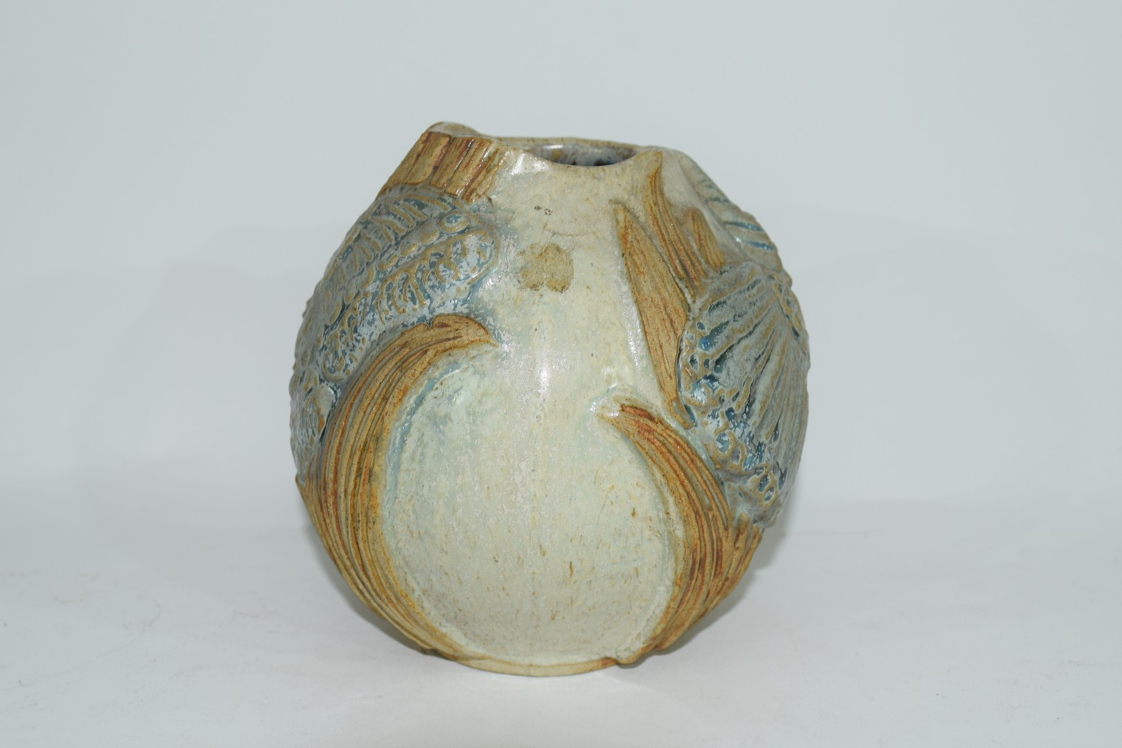 Art Pottery vase with an applied design of dragonflies