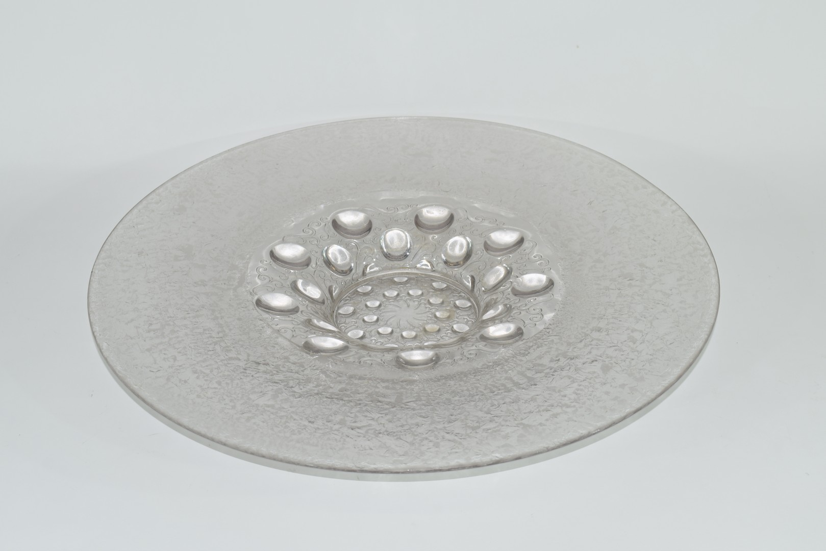 Large glass charger in Lalique style,