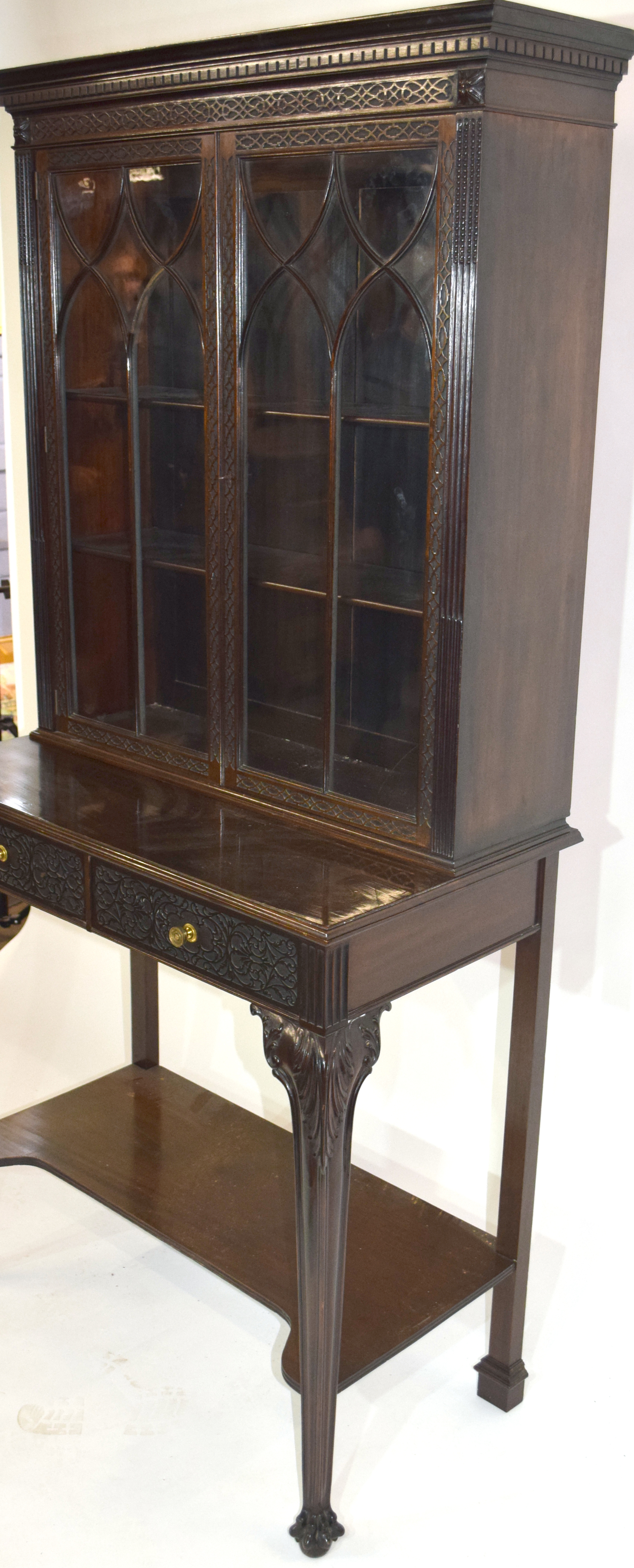 Edwardian mahogany side cabinet with shaped cornice over a top section with two glazed doors and - Image 3 of 7
