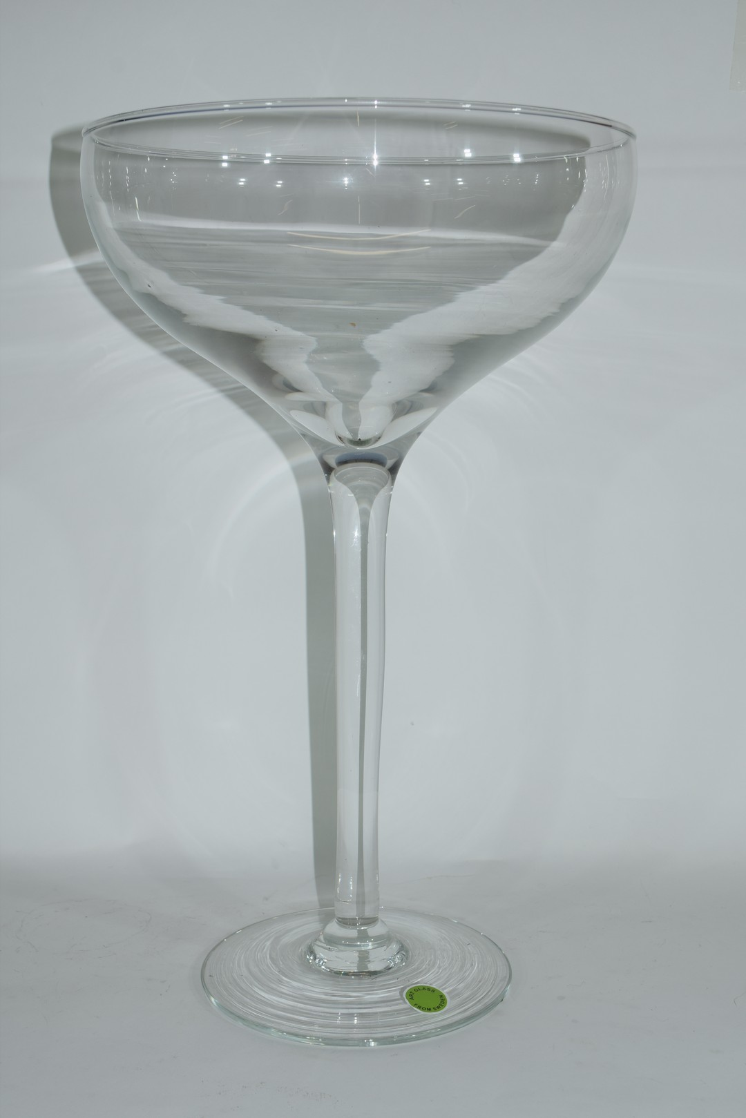 Large clear glass bowl raised on plain stem and foot - Image 2 of 3