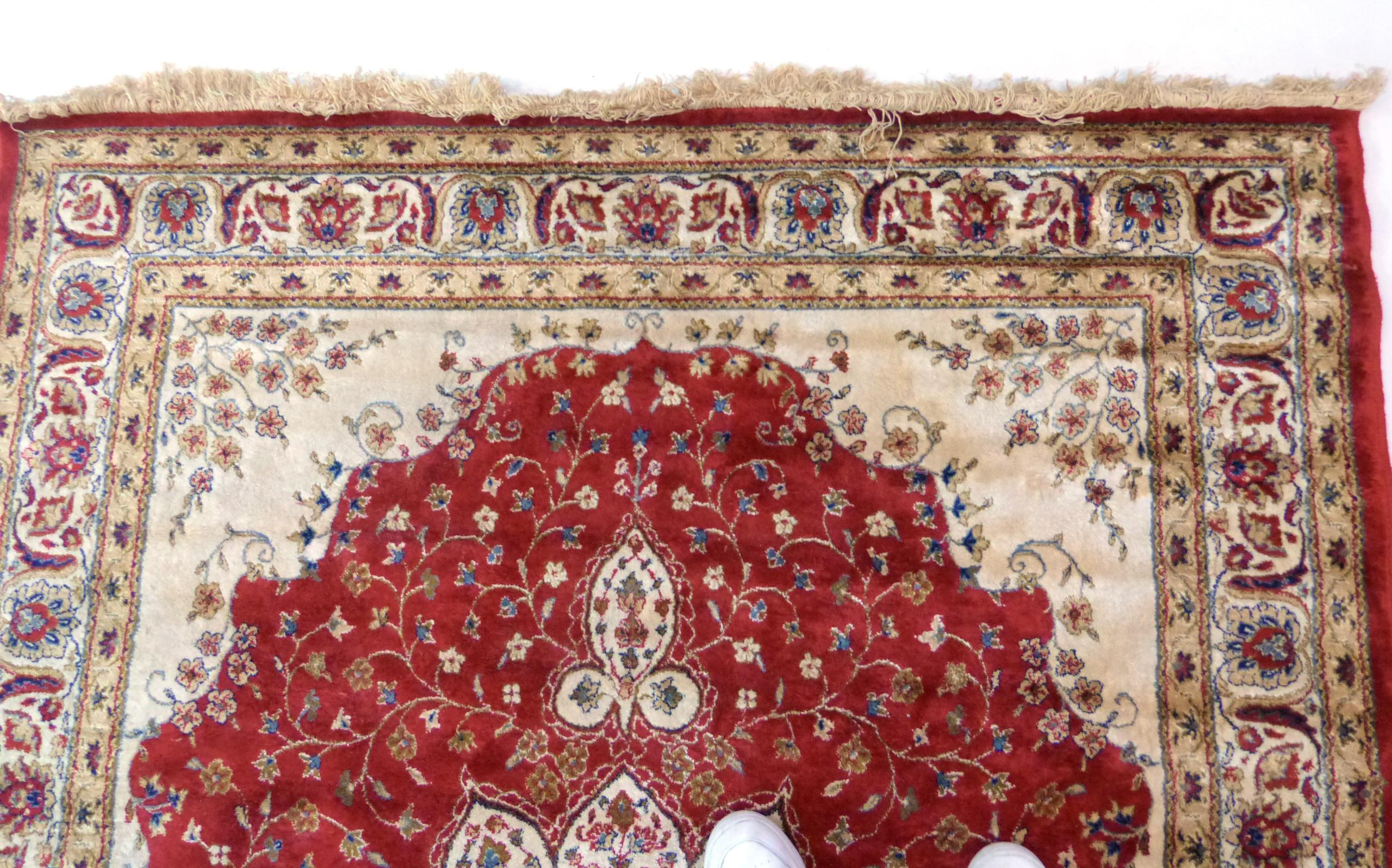 Red ground Kashmir floral medallion design Rug, 240 x 156cm approx - Image 4 of 6
