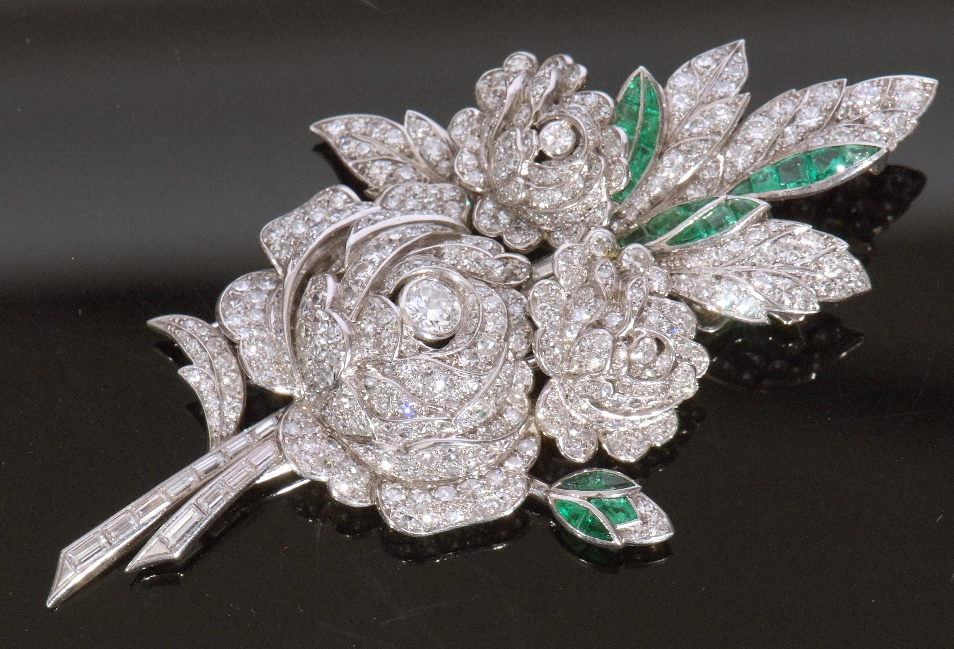 Diamond and emerald spray pin brooch
