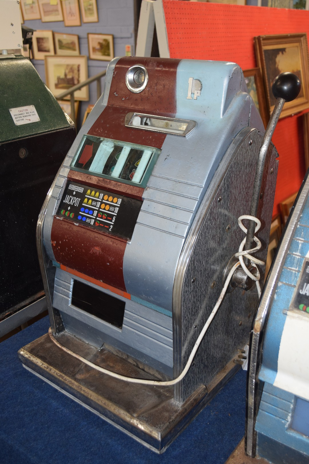 Vintage penny fair one armed bandit fruit machine, with light up display, 68cm high Condition: - Image 2 of 5