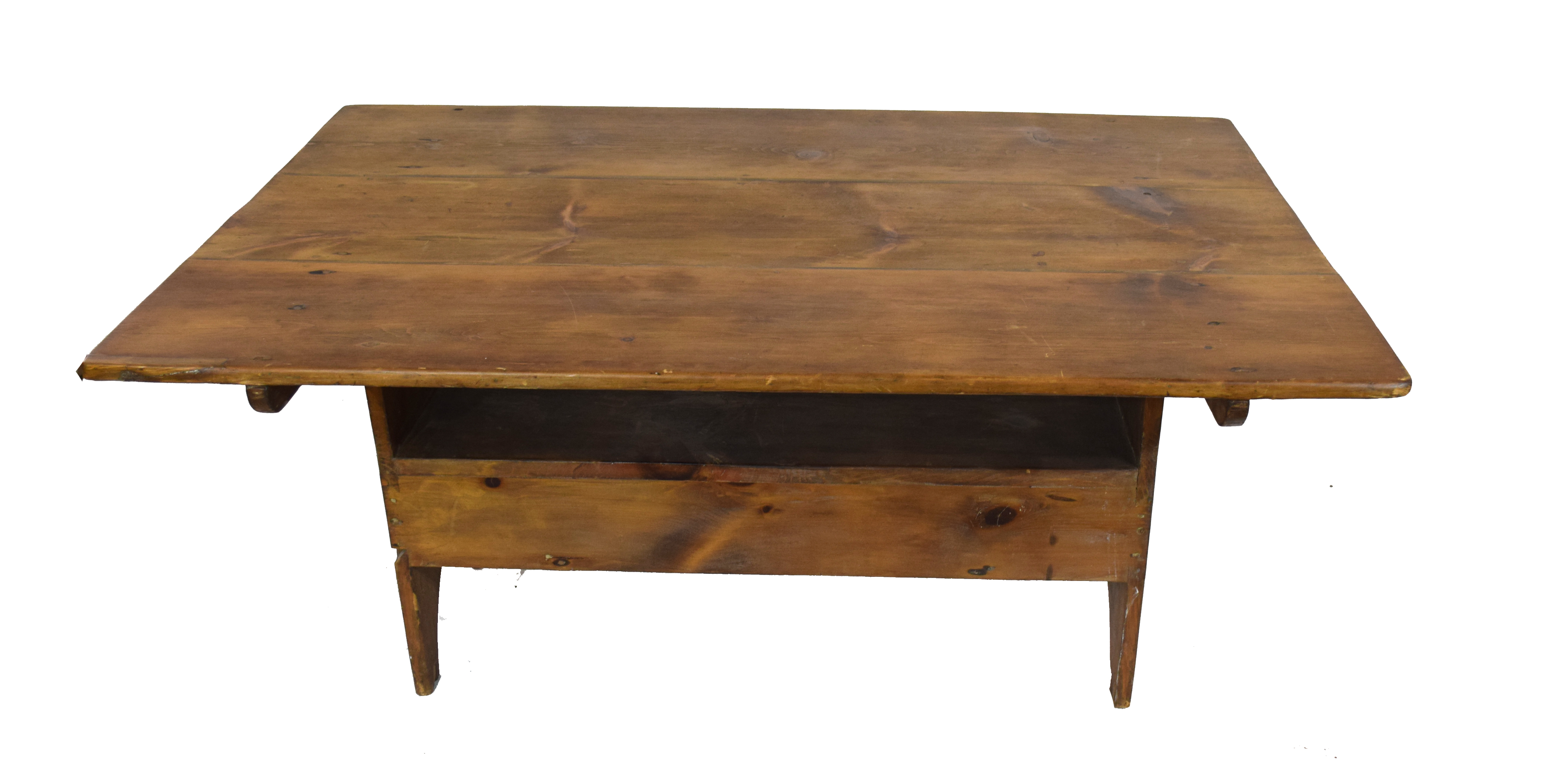Unusual 20th century stained pine kitchen table, the rectangular top with pegged attachment to a - Image 2 of 4