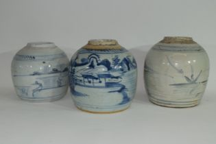 Group of three Provincial Oriental jars