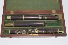 Vintage cased wooden flute