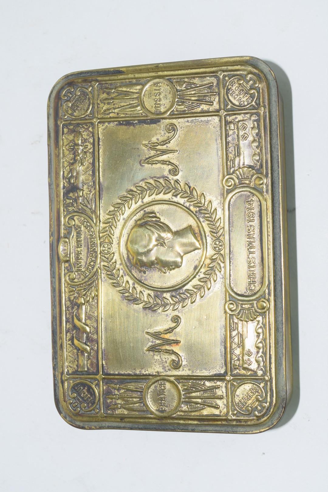 WWI Christmas 1914 brass tobacco tin