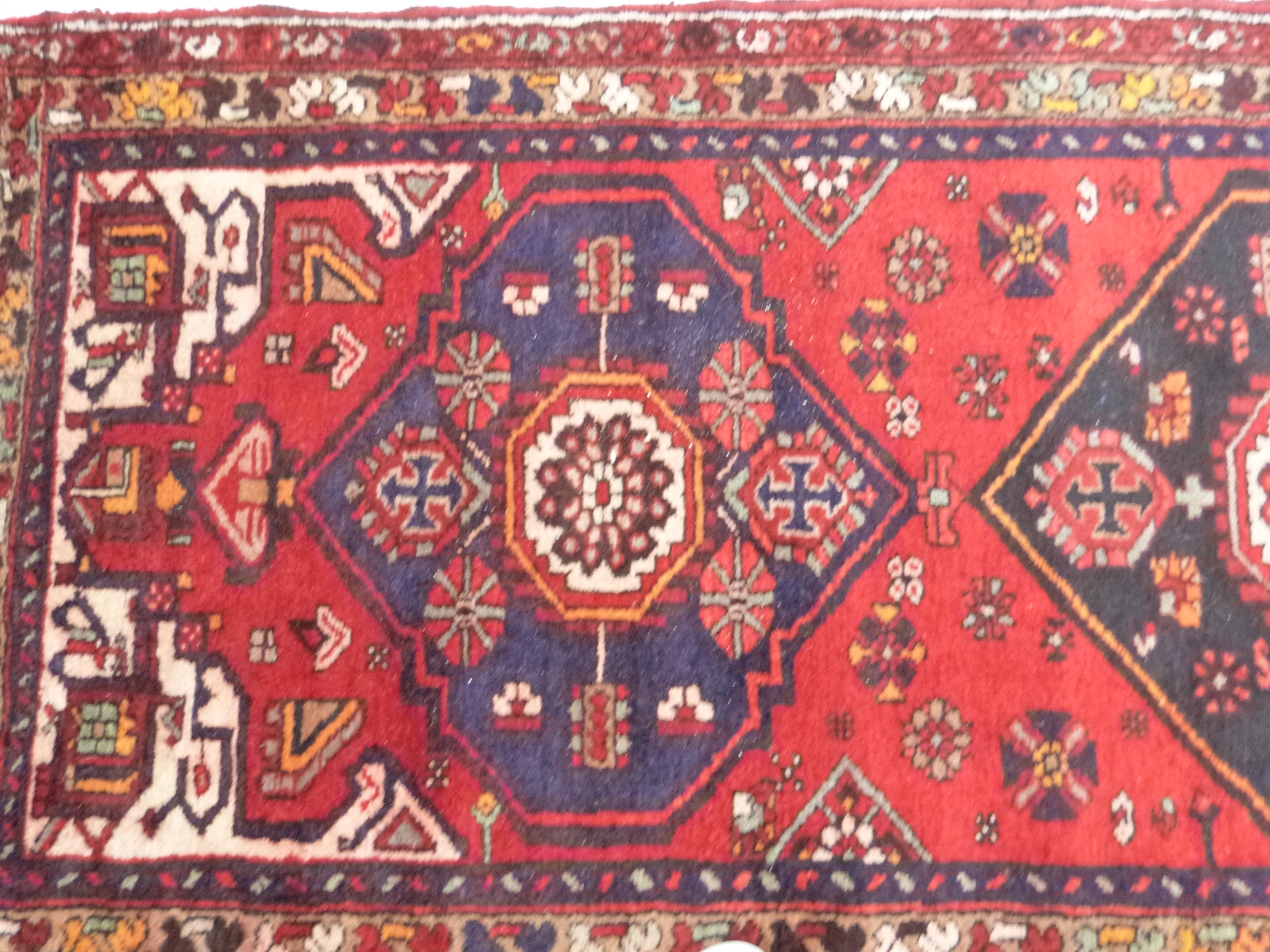 Rich red ground full pile Persian Hamadan Runner 286cm x 110cm approximately - Image 3 of 6