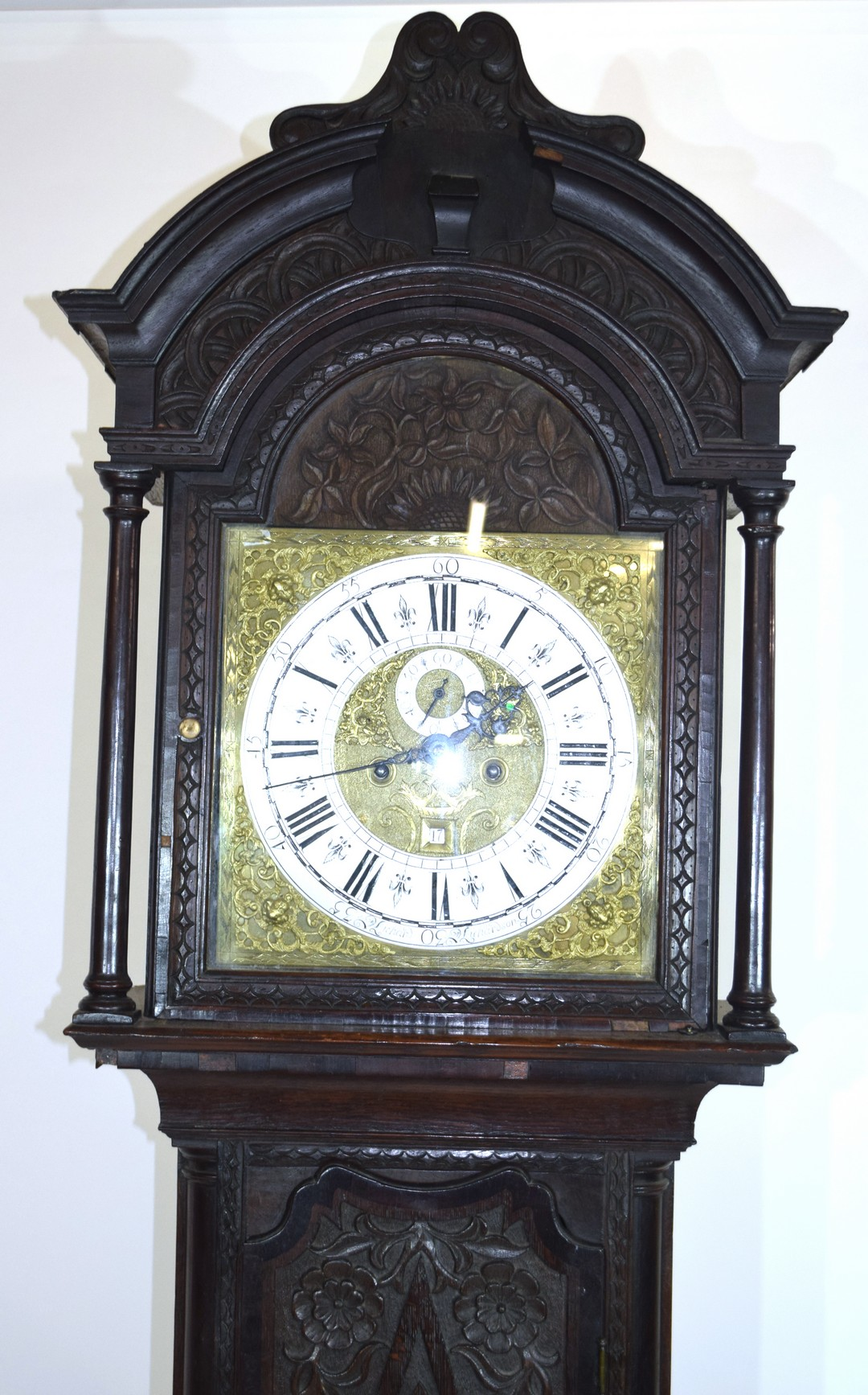 Ornately carved longcase clock, with gilt dial mounted with Roman chapter ring, subsidiary minutes - Image 3 of 7